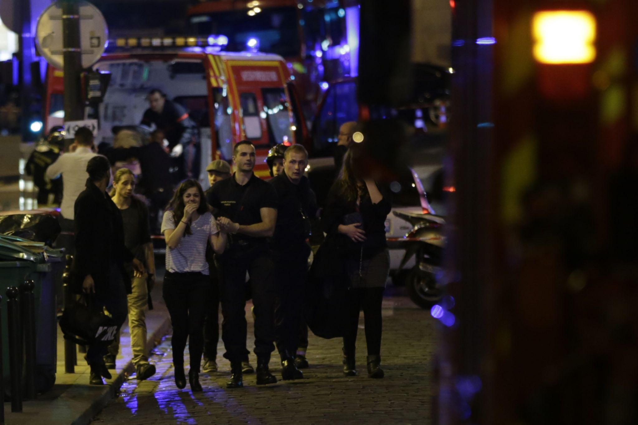 People being moved to safety from Bataclan concert hall