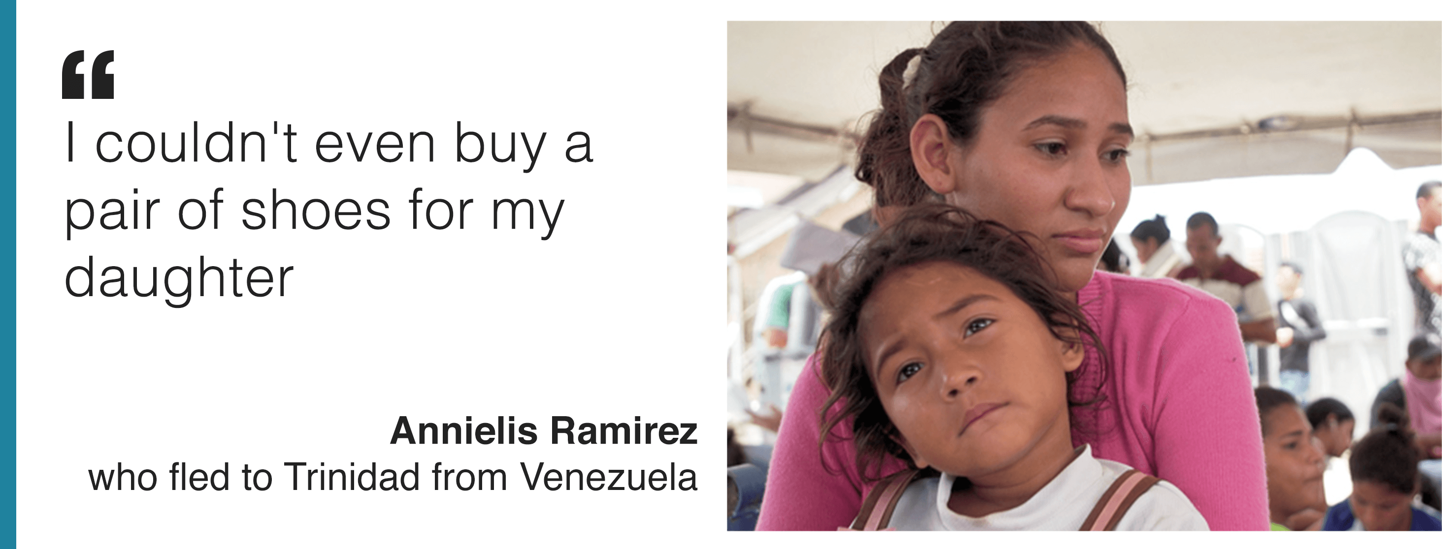 "Image and quote from Annielis Ramirez , who is among thousands of Venezuelans seeking a better life in Trinidad. She says: ""Truly I can say Uganda at this point is home to us."""