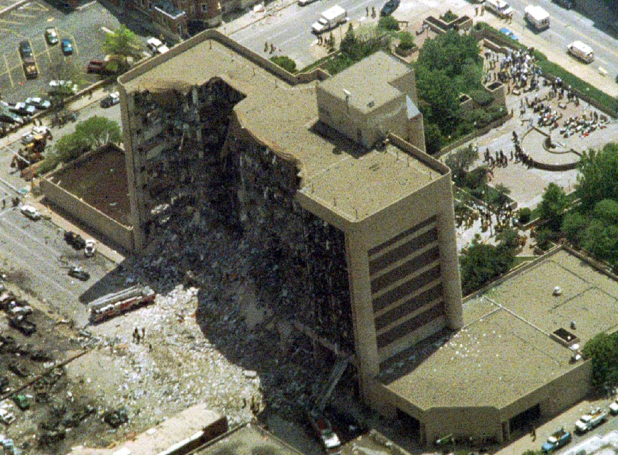 Aerial shot shows giant gouge out of side of Murrah federal building