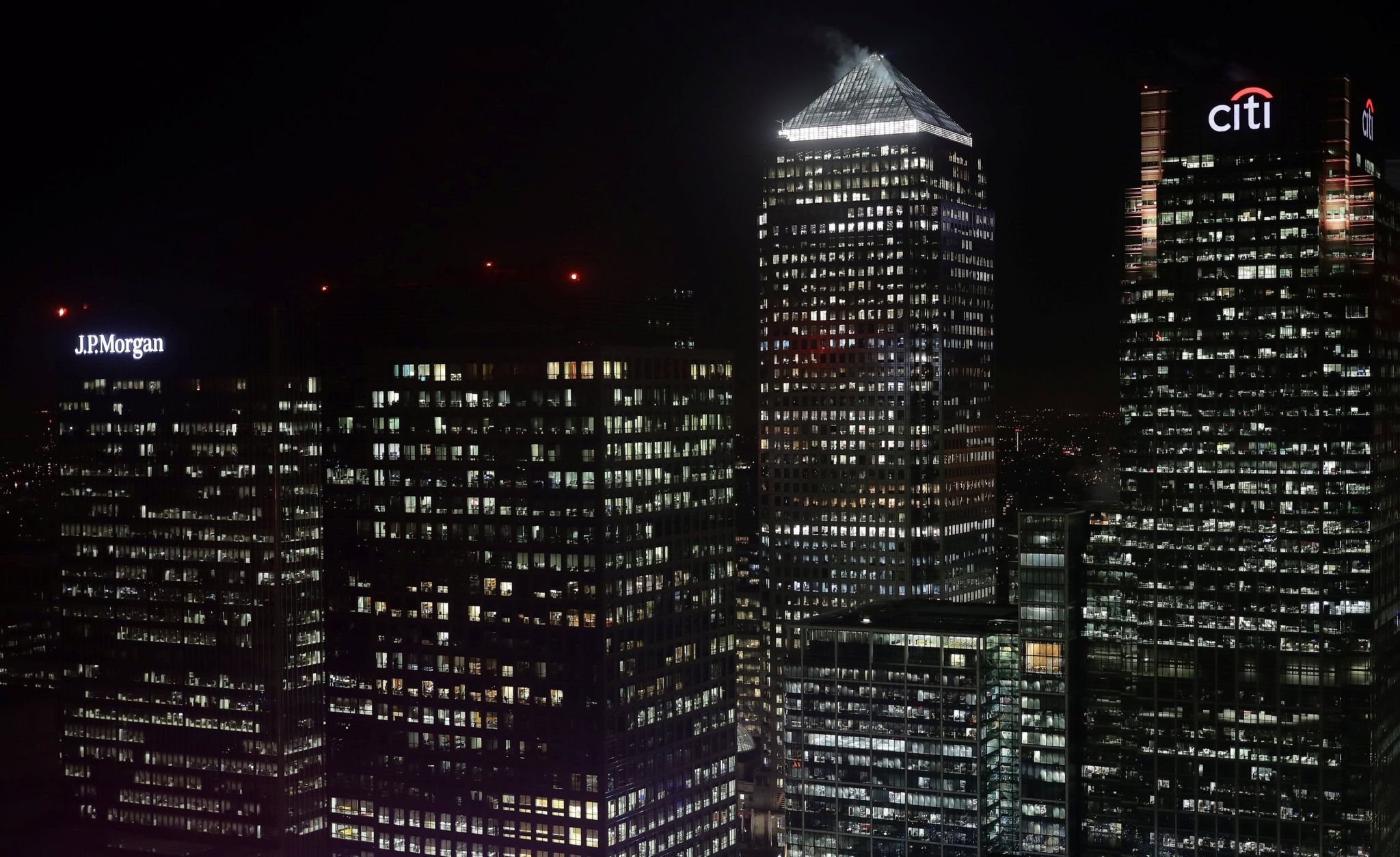 Citibank and J P Morgan buildings are seen in the financial district of Canary Wharf in London, Britain 19 January 2017