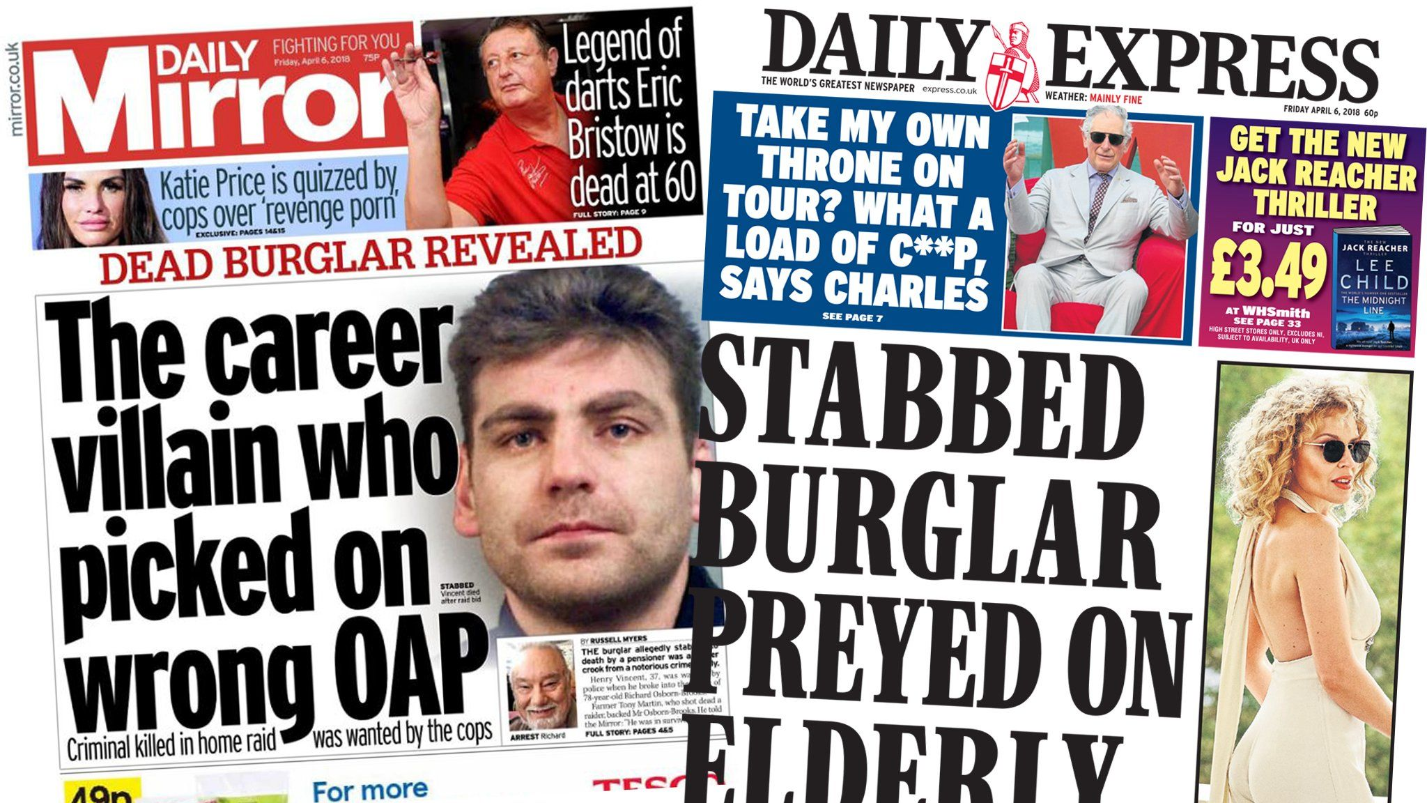 Mirror and Express front pages 6th April