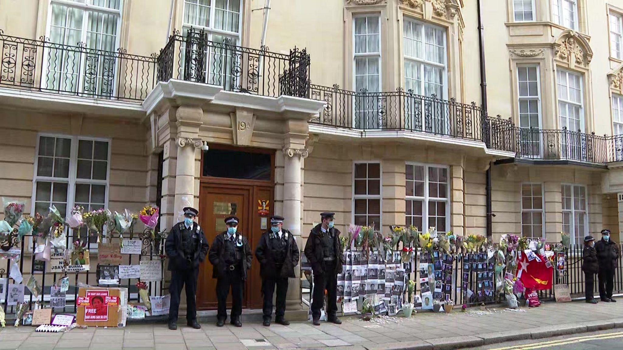 UK Police standing outside Myanmar embassy