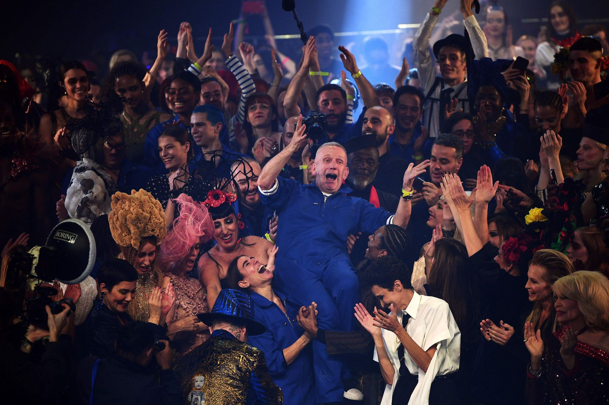 Jean Paul Gaultier at the end of his fashion show