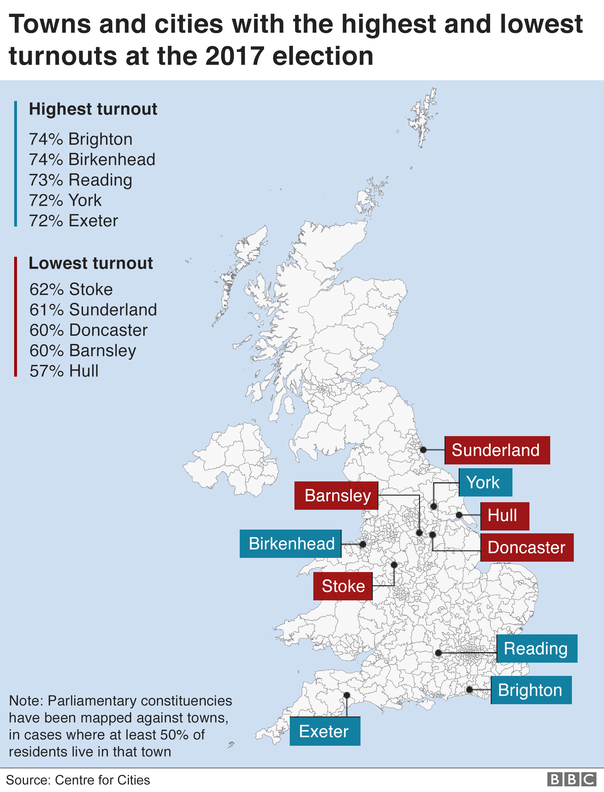Map showing voter turnout in the 2017 General Election