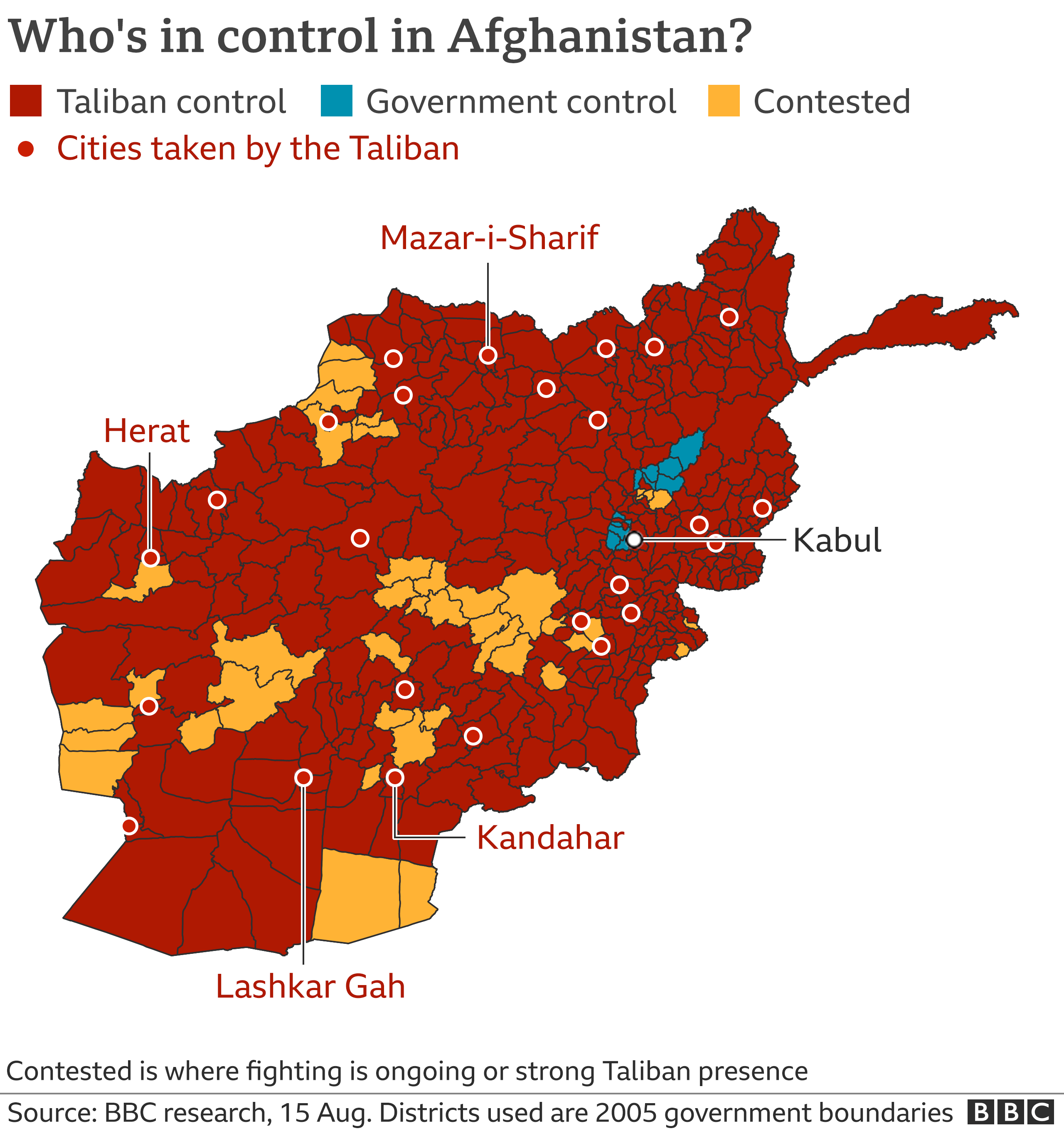 Control map of Afghanistan. Updated 15 Aug. 11:45 BST