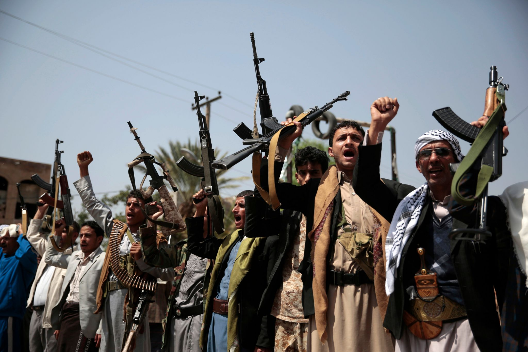 Local Houthi rebels protested the airstrikes
