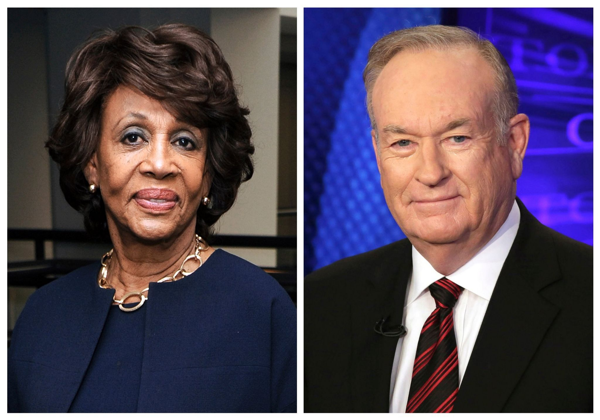 "In this combination photo, Rep. Maxine Waters, D-Calif., left, appears at the Justice on Trial Film Festival on Oct. 20, 2013, in Los Angeles and Fox News personality Bill O'Reilly appears on the set of his show, ""The O'Reilly Factor,"" on Oct 1, 2015 in New York"
