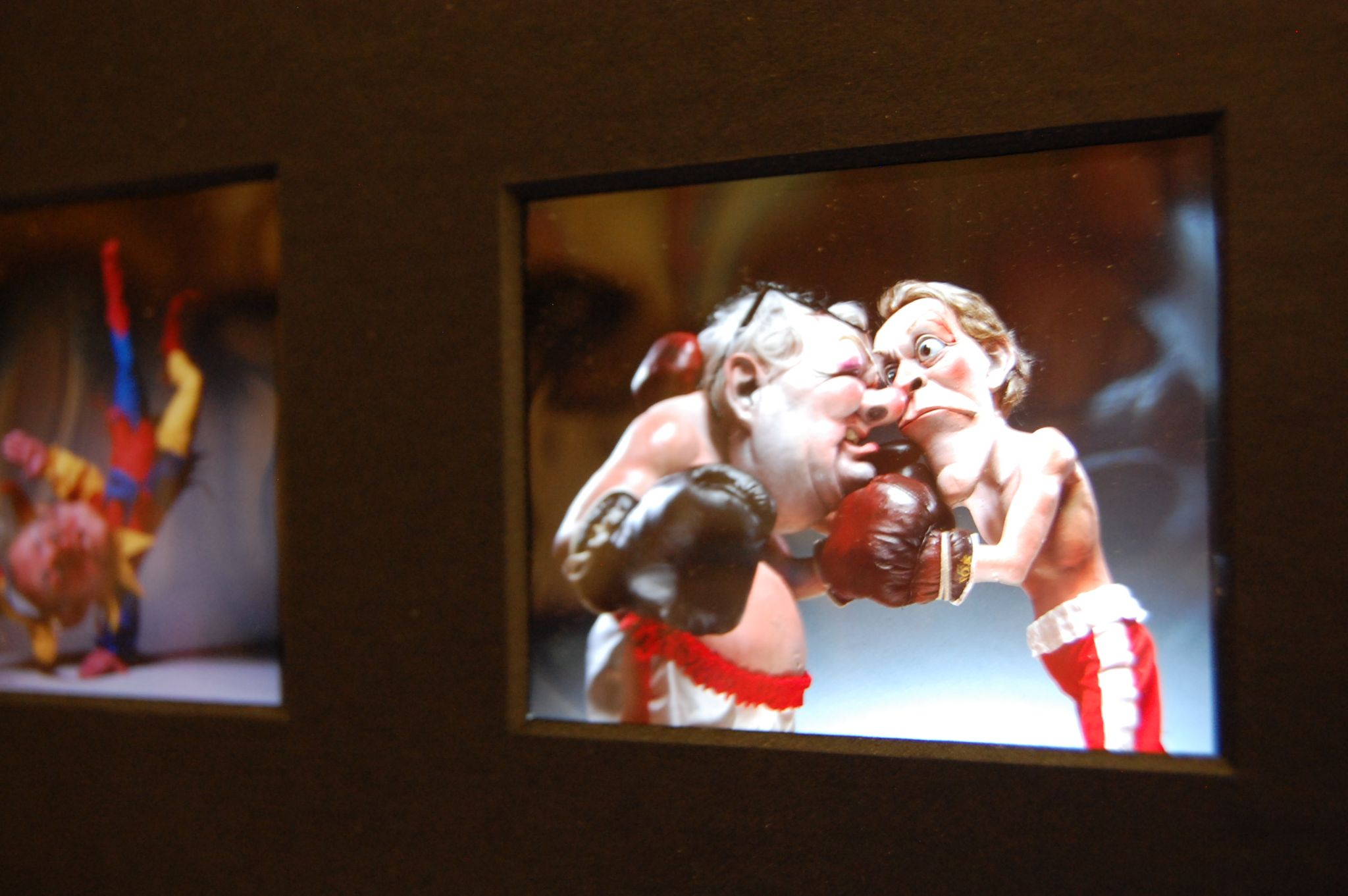 Spitting Image characters as boxers