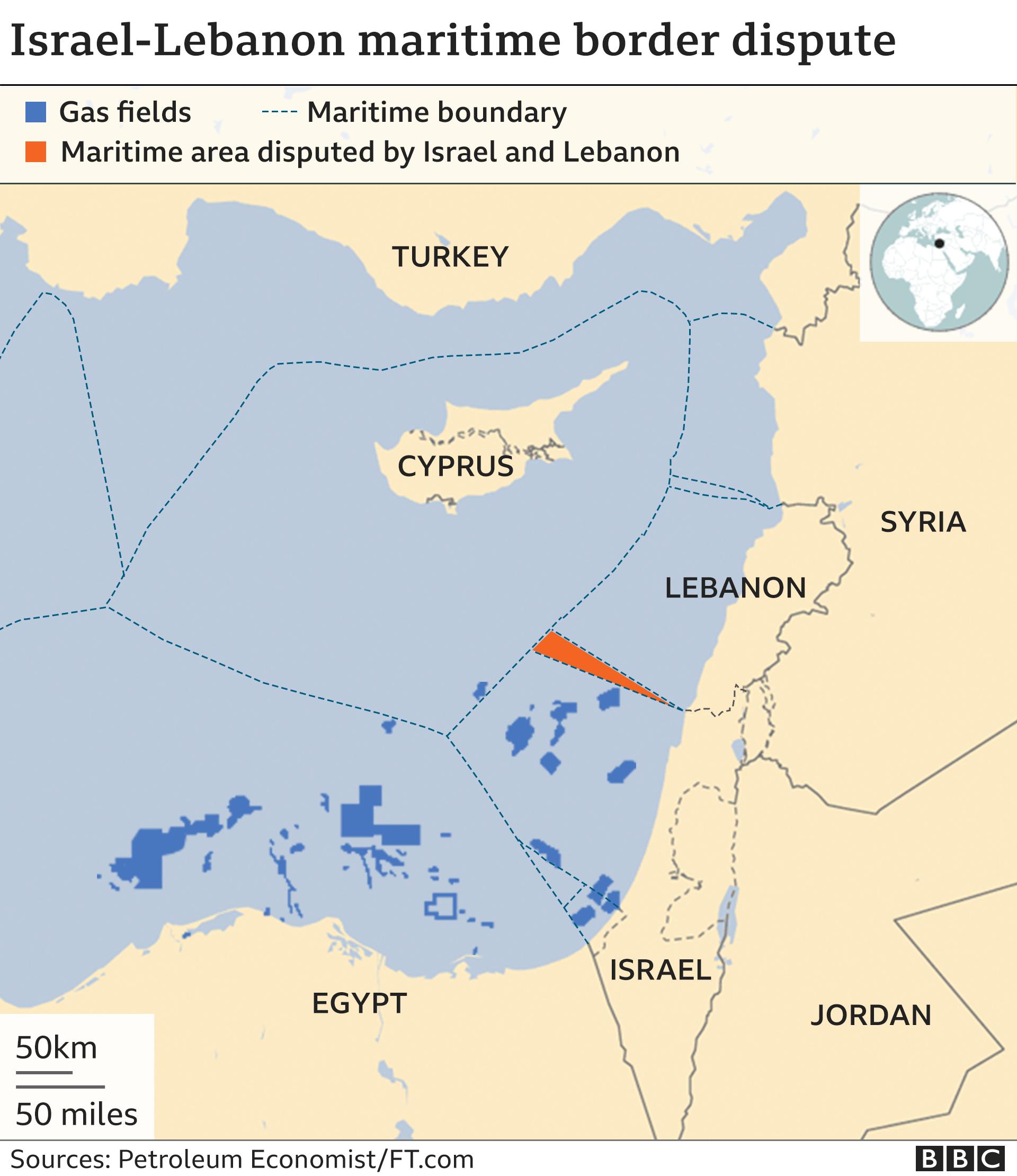 Map showing Israel-Lebanon maritime border dispute