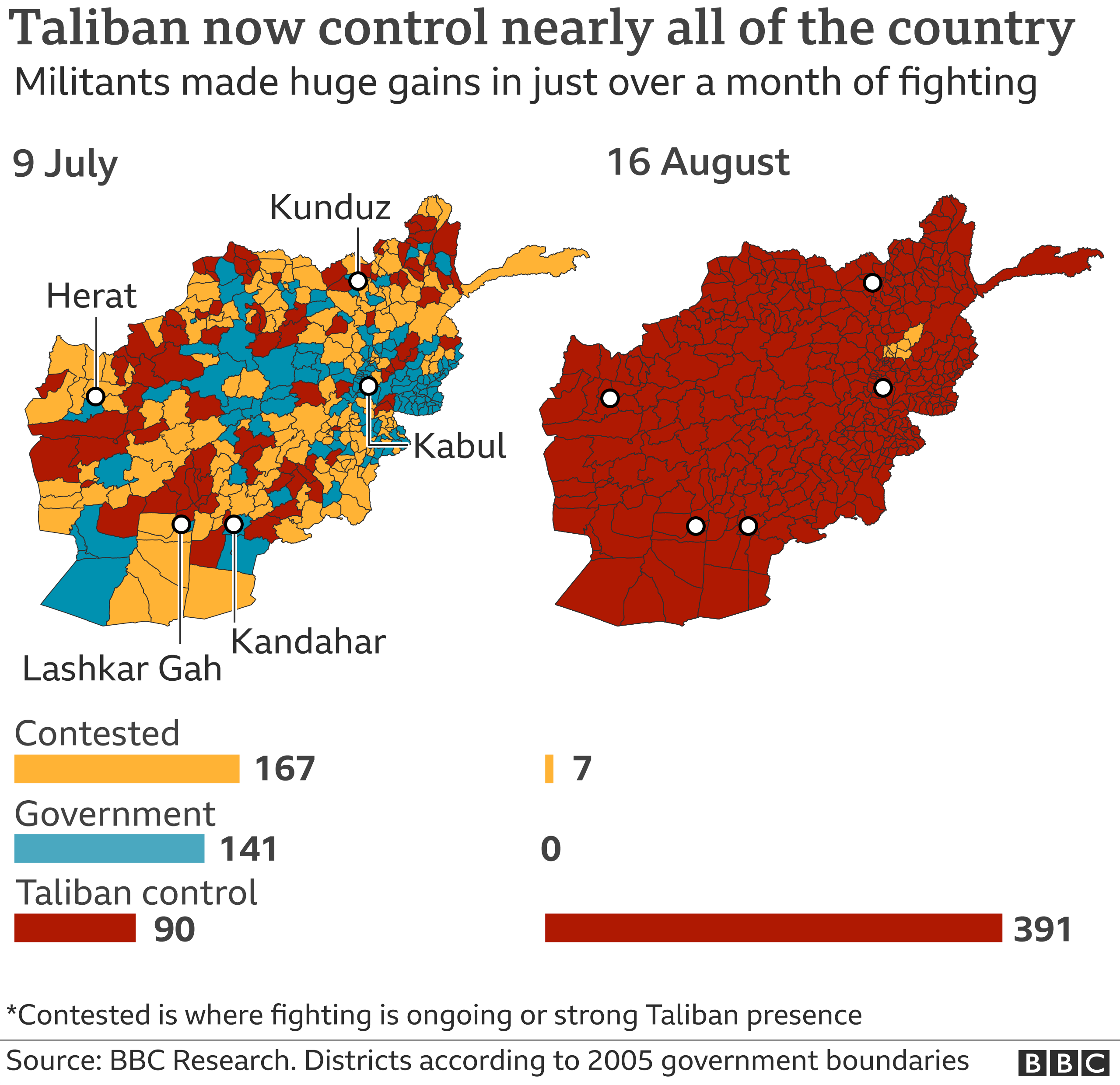 Map shows areas of control in Afghanistan