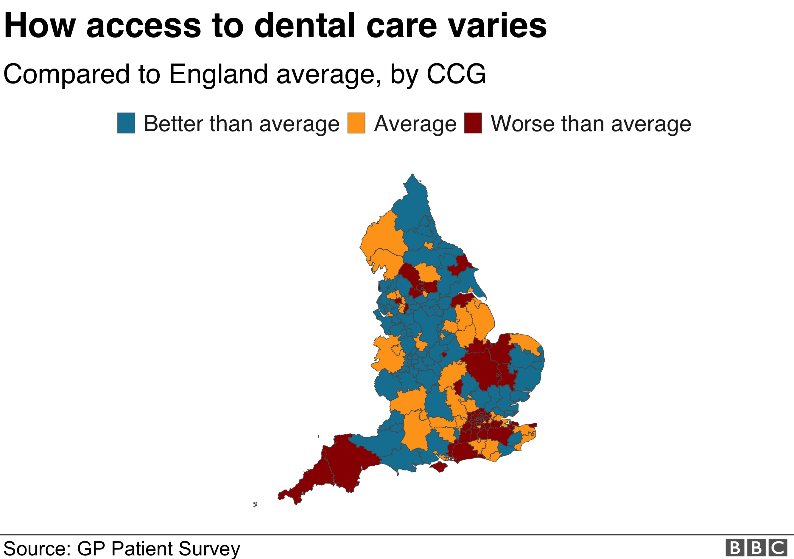 Map showing satisfaction rates in England with dental care
