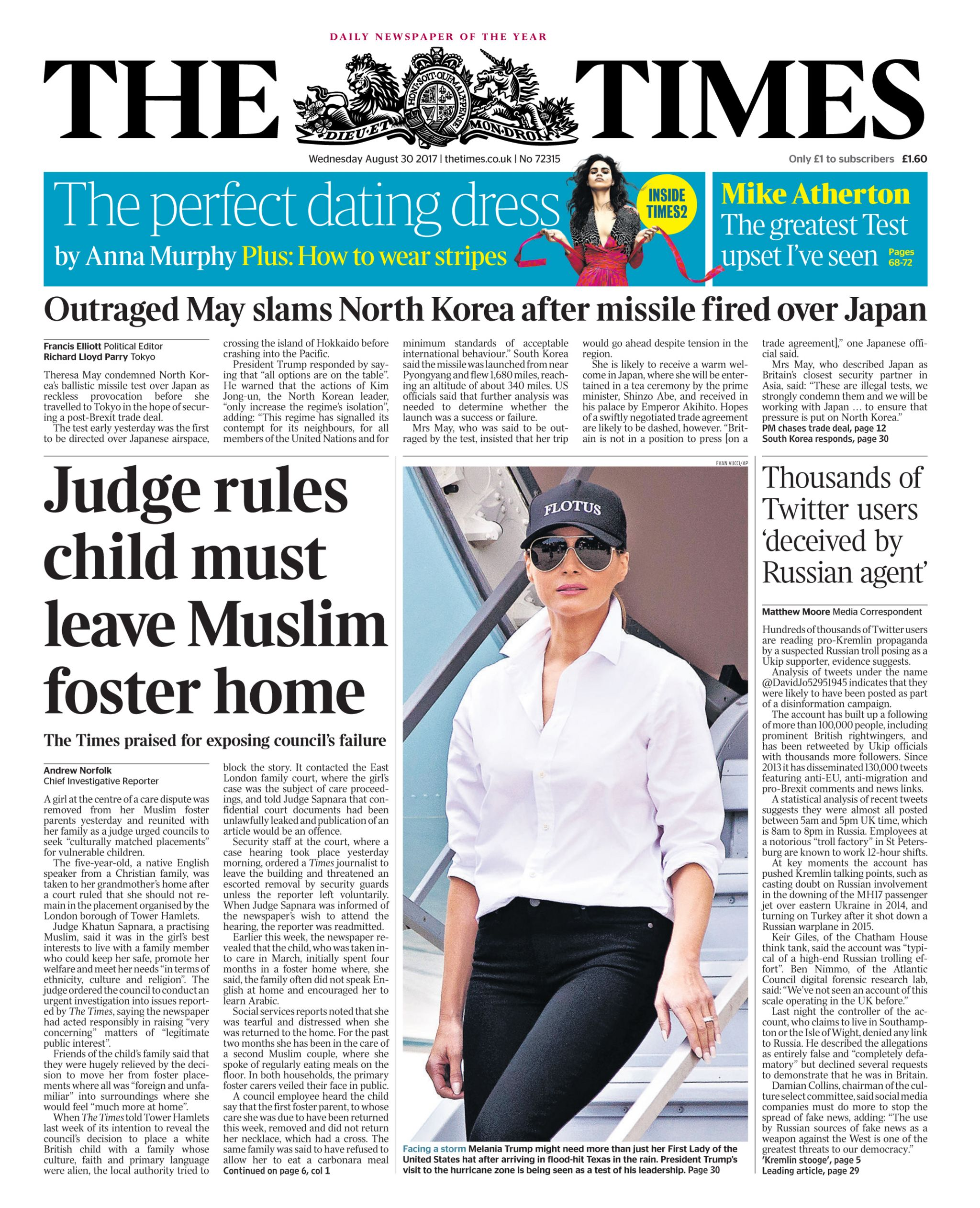 The Times front page of a story on the case from August 2017