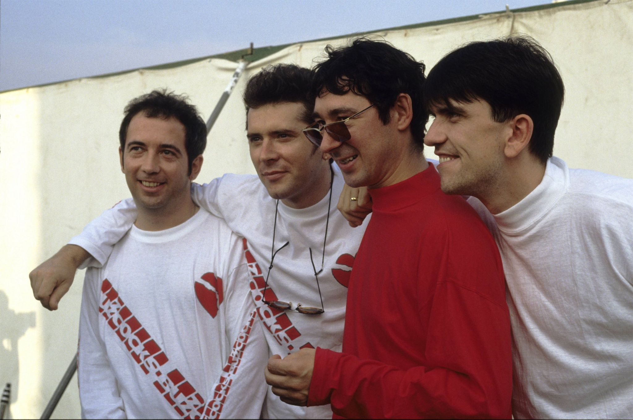 The re-formed Buzzcocks line-up at the Reading Festival in 1990. From left: Pete Shelley, Steve Diggle, Steve Garvey and Mike Joyce