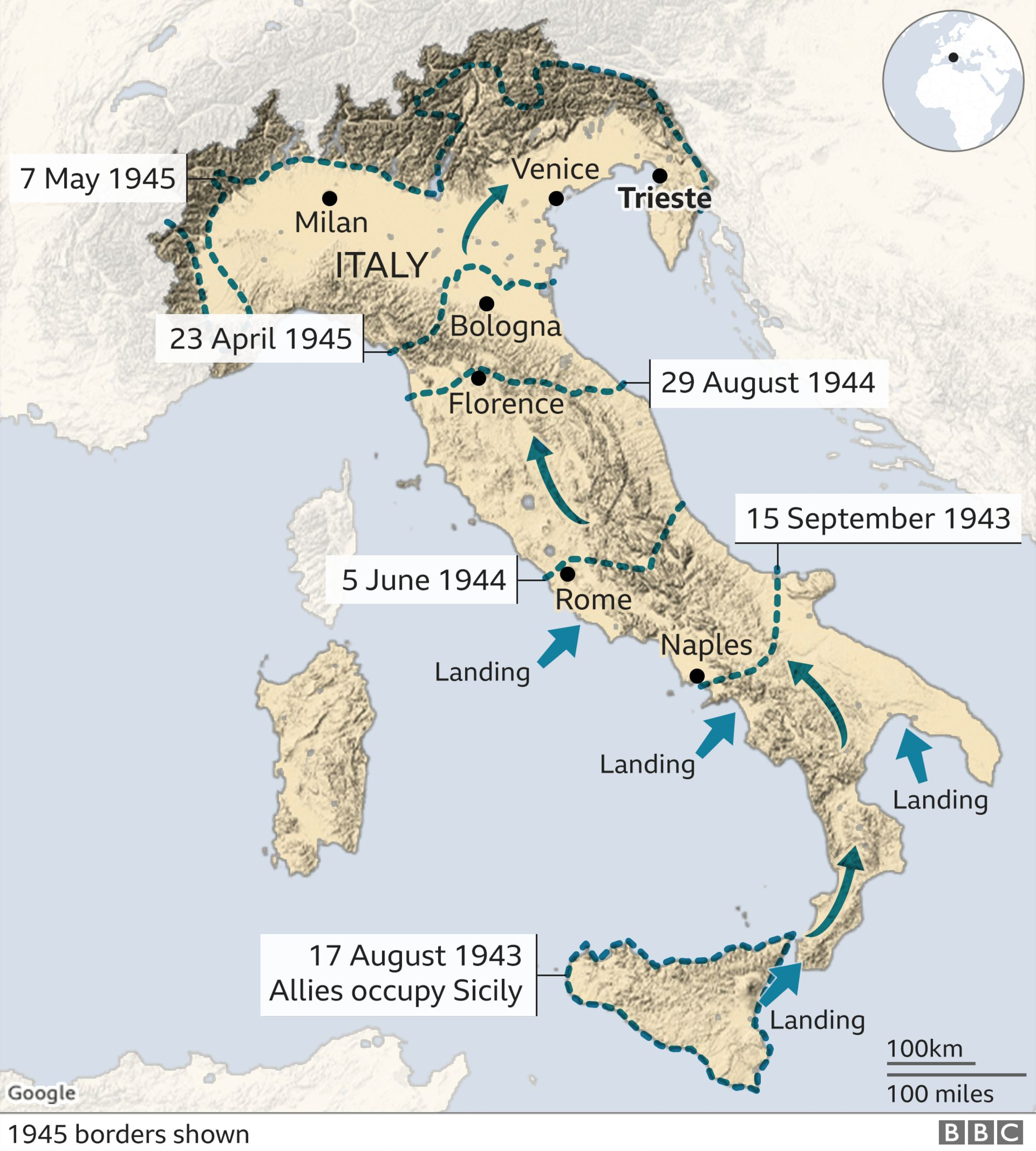 Map of Italy showing progress of Allies from 1943 to 1945