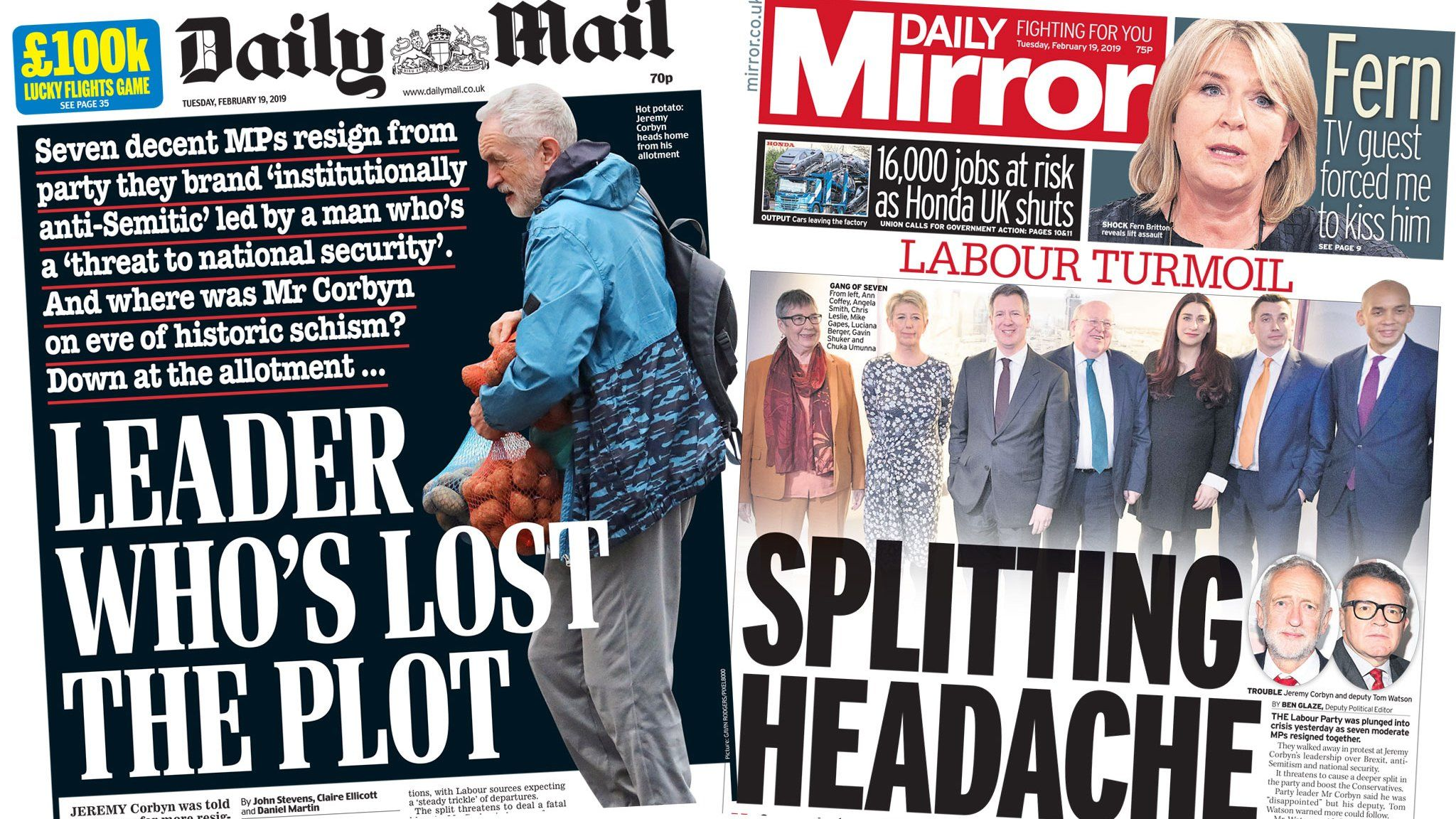 The Daily Mail and the Daily Mirror front pages