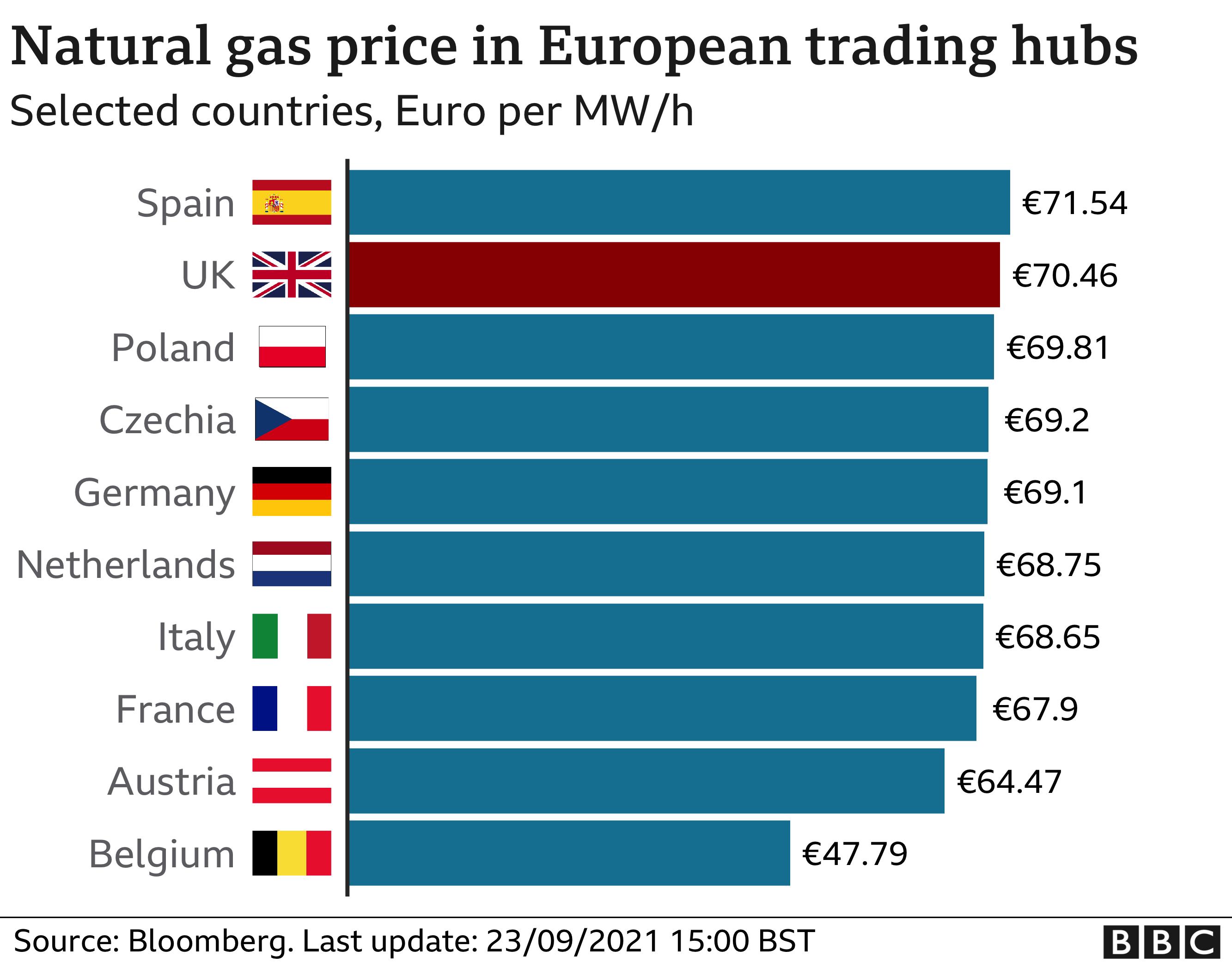 Natural gas prices in European trading hubs, 23 September