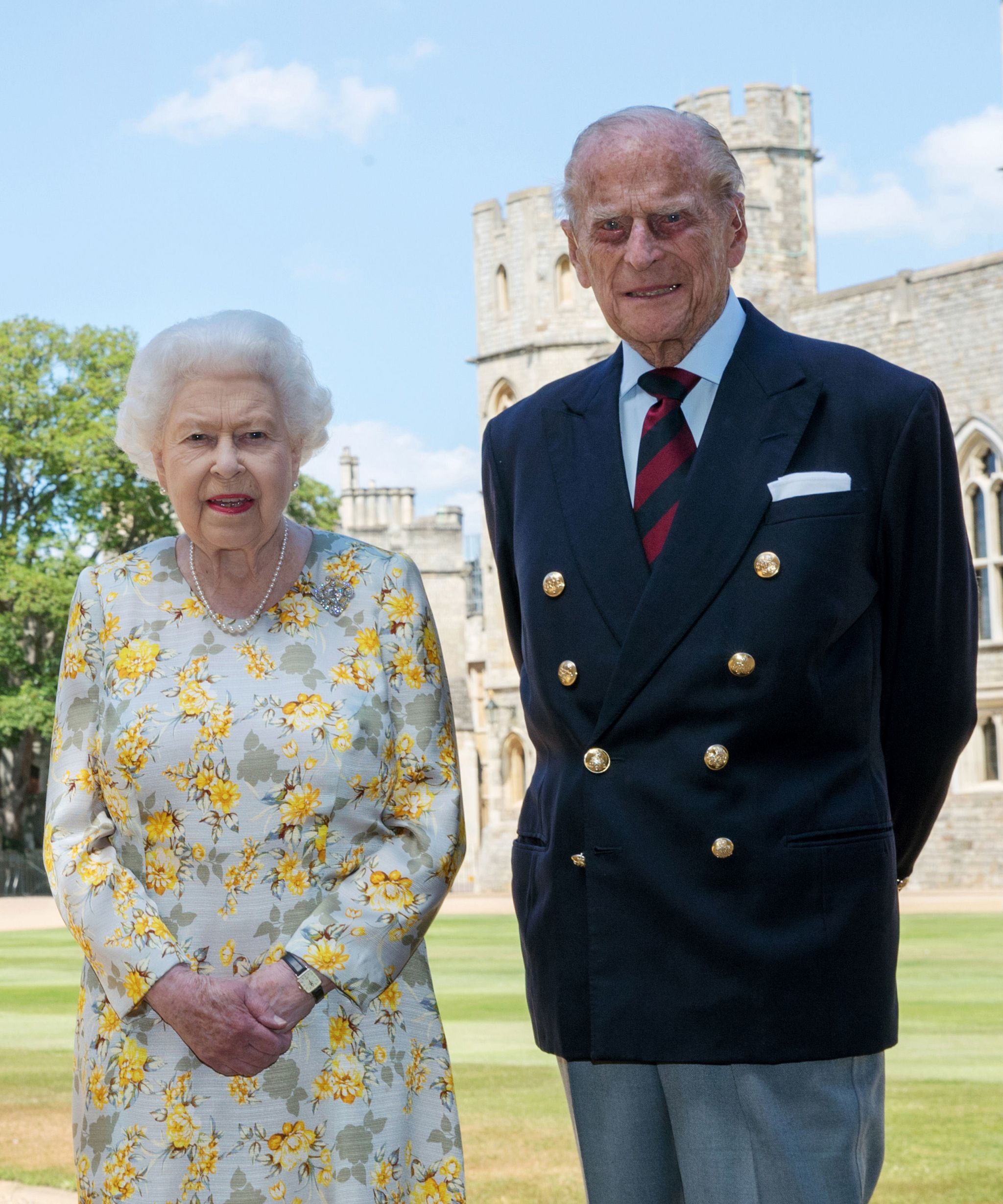 Queen Elizabeth II and the Duke of Edinburgh pictured 1/6/2020 in the quadrangle of Windsor Castle ahead of his 99th birthday on Wednesday.