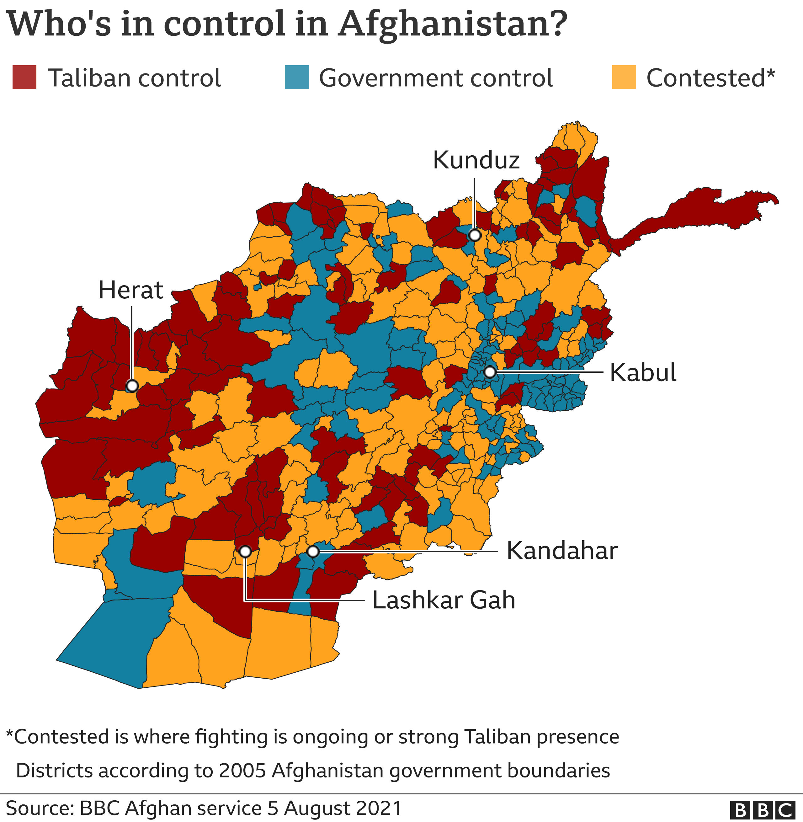 Map showing areas which are contested, under full Taliban or under government control, updated 5 August 2021