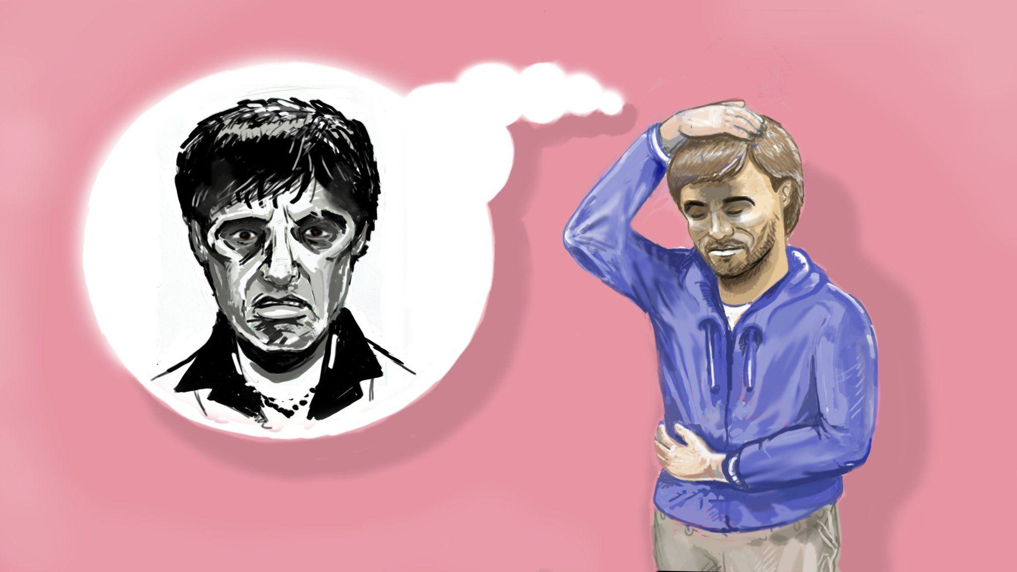 Illustration of Frank Burton thinking of the Al Pacino film Scarface