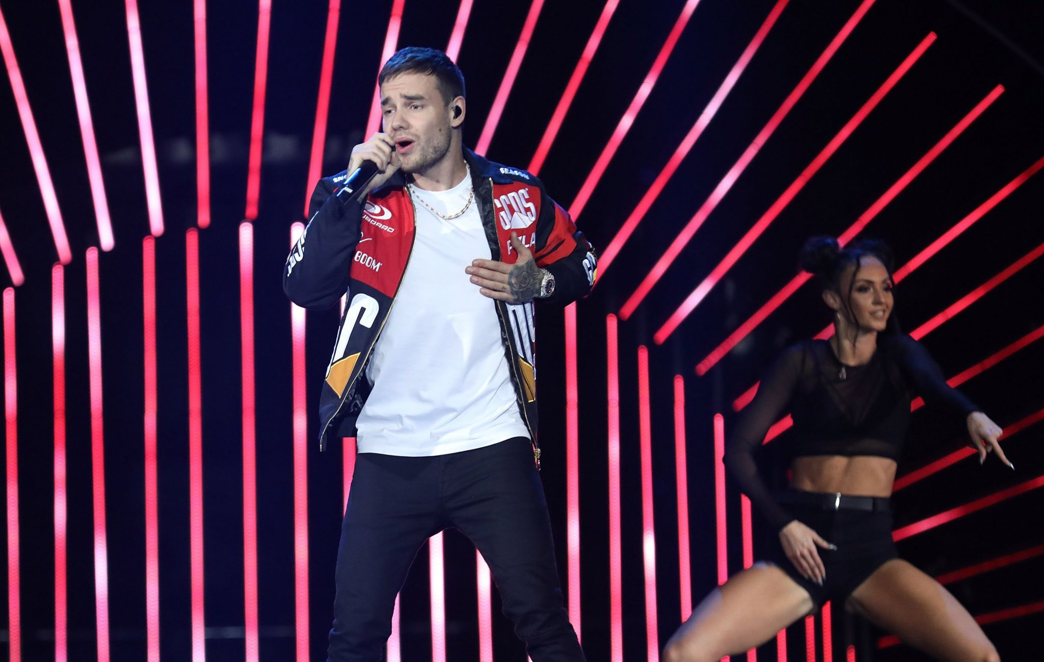Liam Payne on stage at the BBC's Teen Awards