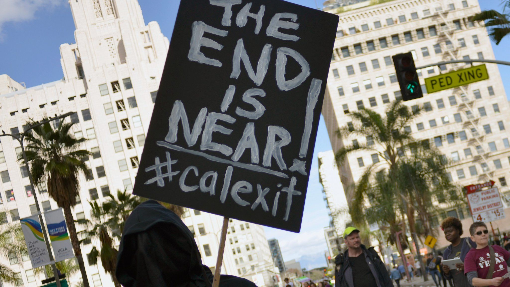 sign saying the end is near, calexit