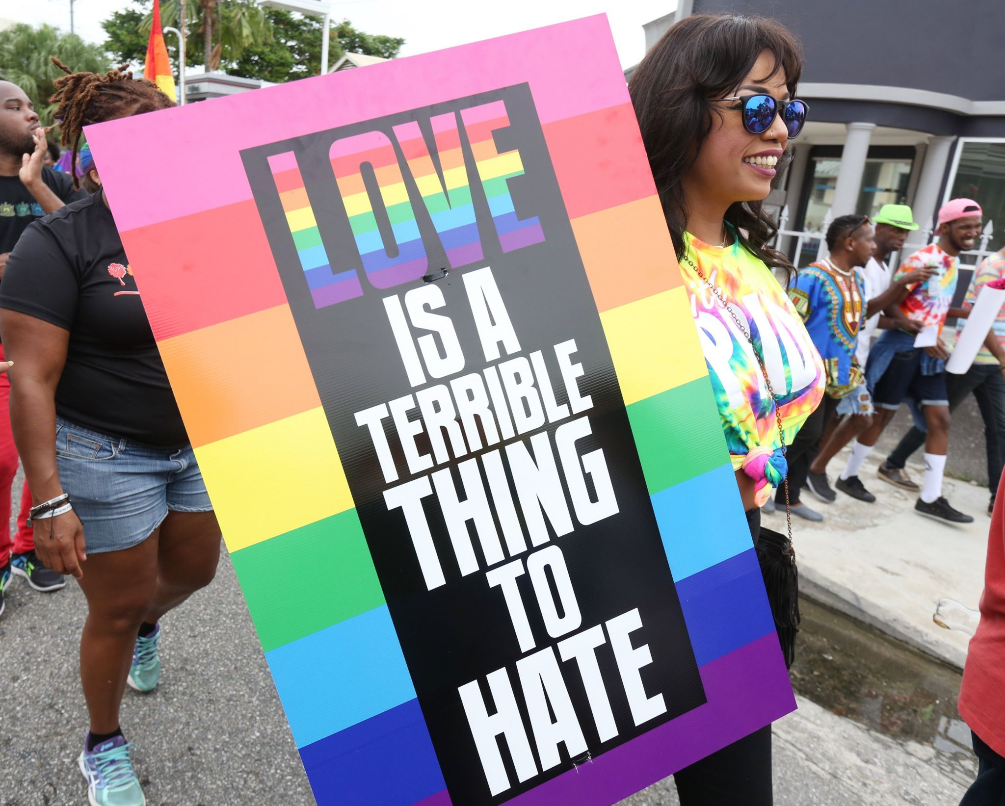 Supporters of LGBT rights and equality conclude three weeks of solidarity-building events with a festive parade during the first annual Pride Arts Festival on July 28 in Port of Spain, Trinidad