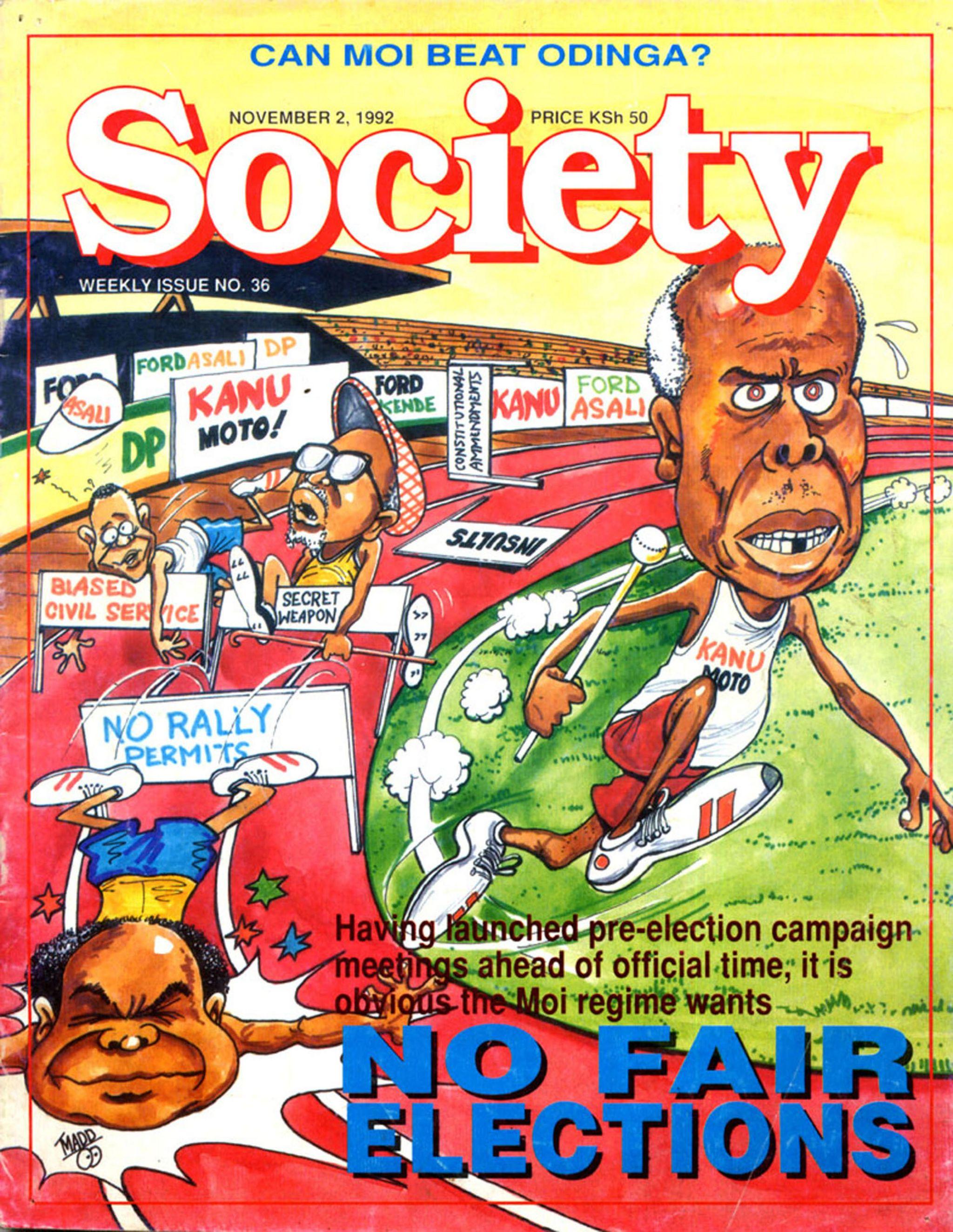 Magazine cover with a satirical cartoon