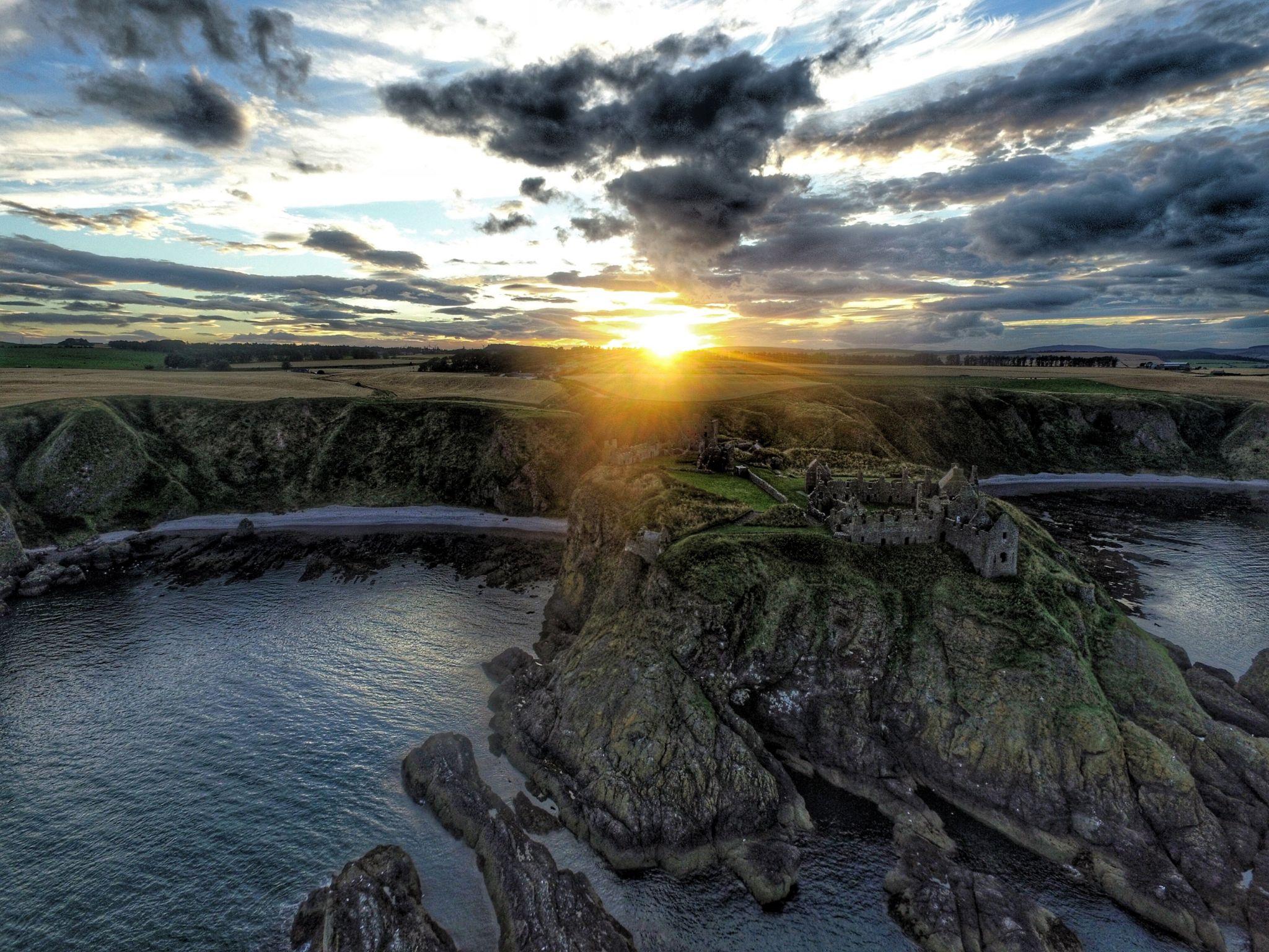 Sunset over Dunnottar Castle just outside Stonehaven on Friday 2nd September.
