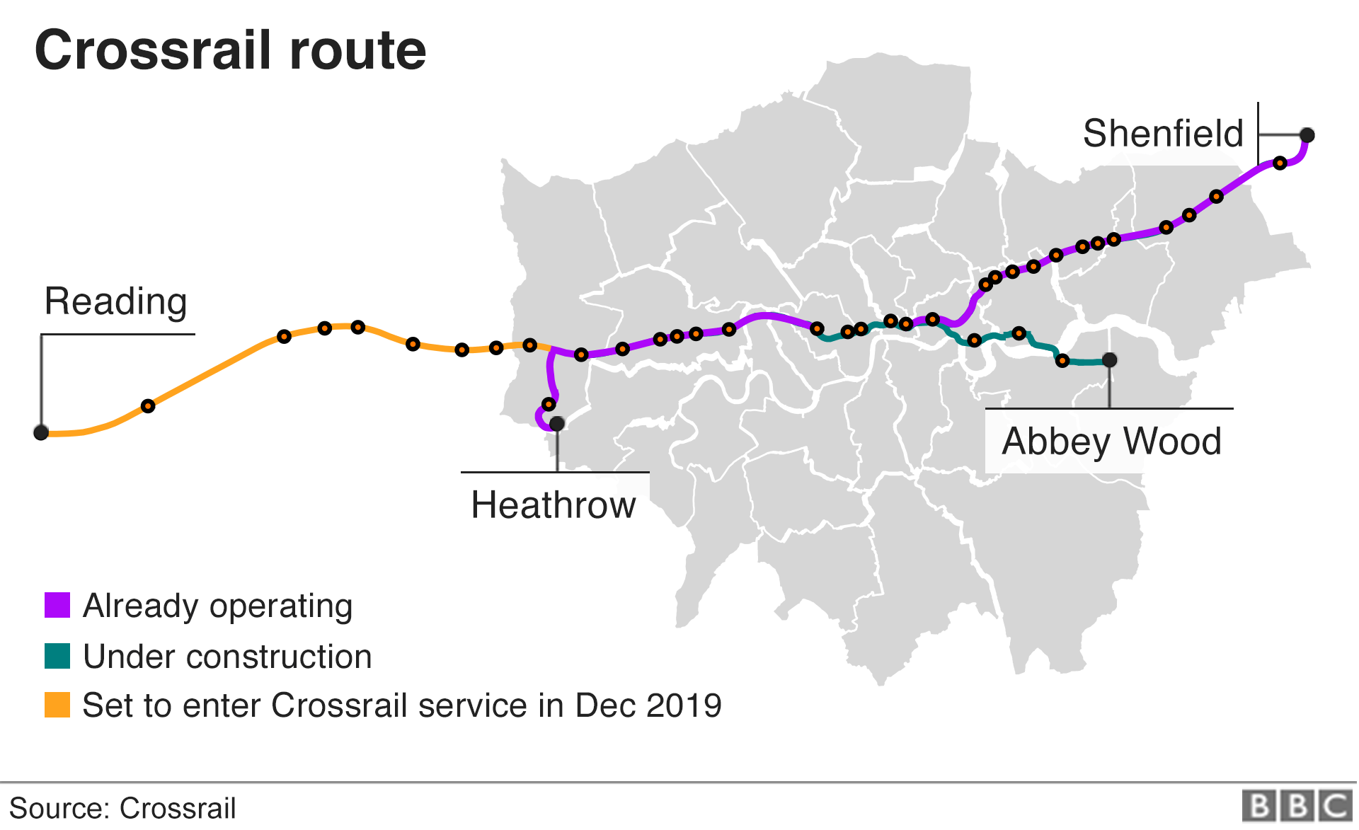 Map showing the Crossrail route