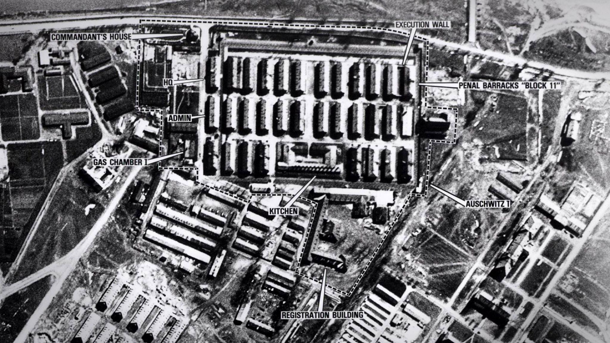 Aerial view of Auschwitz in WW2