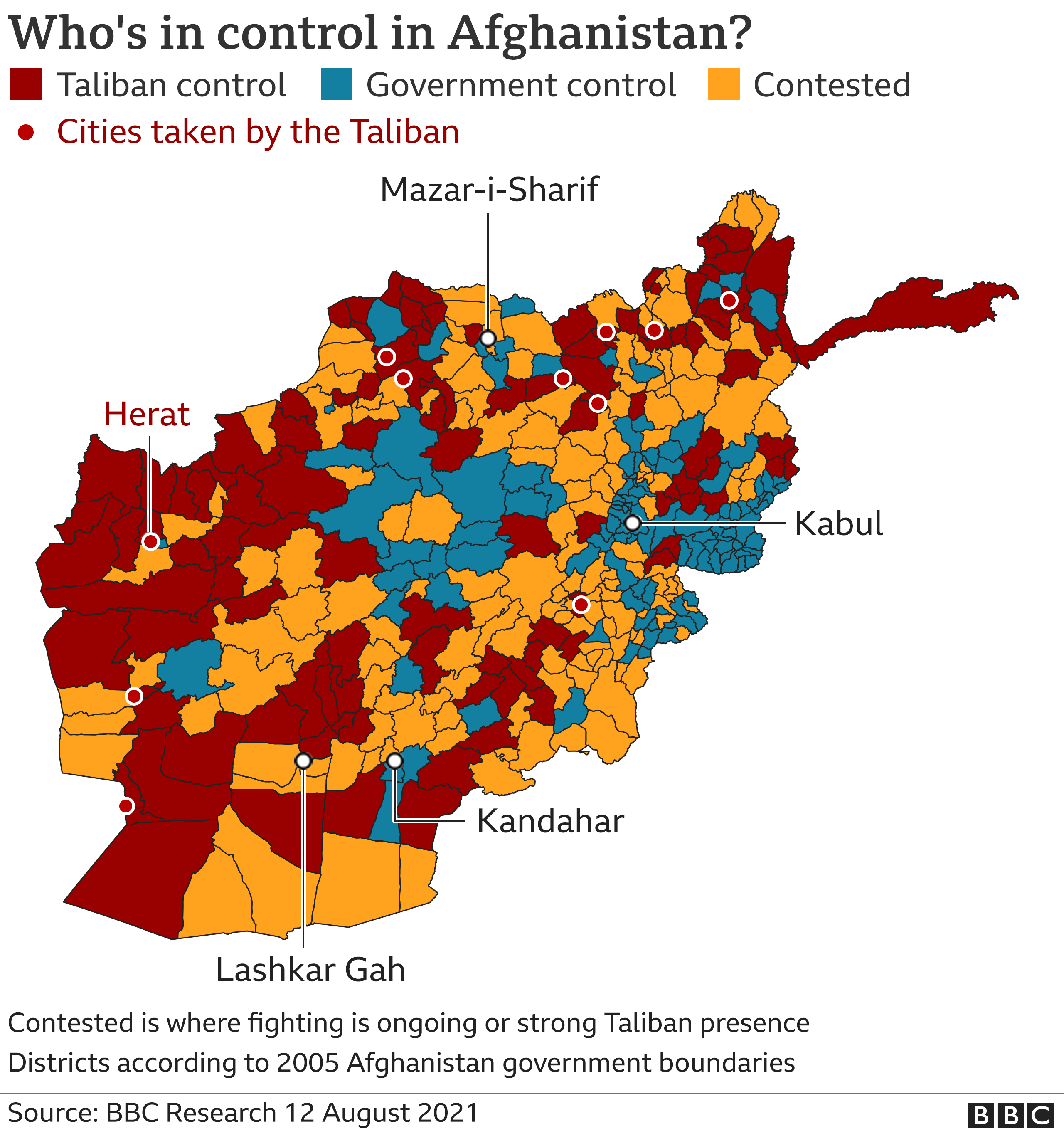 Map showing areas which are contested, under full Taliban or under government control, updated 12 August 2021