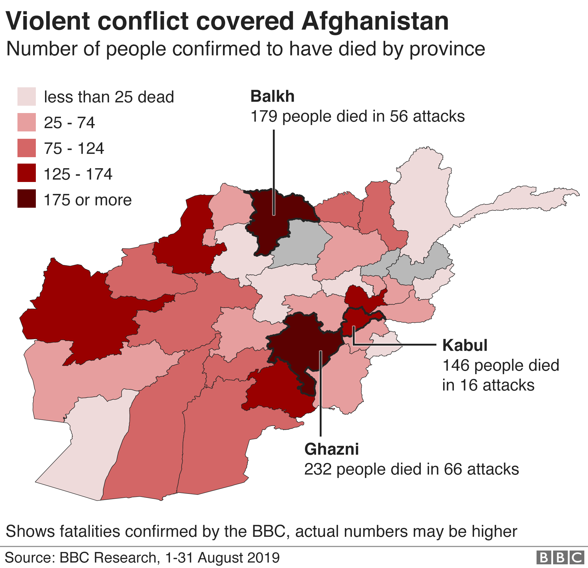Map of total fatalities by province in Afghanistan