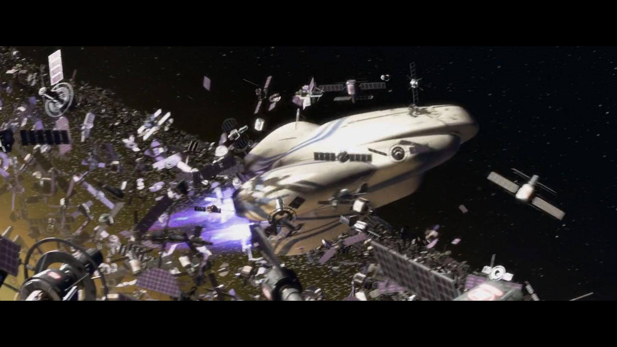 Wall-E satellite space junk scene