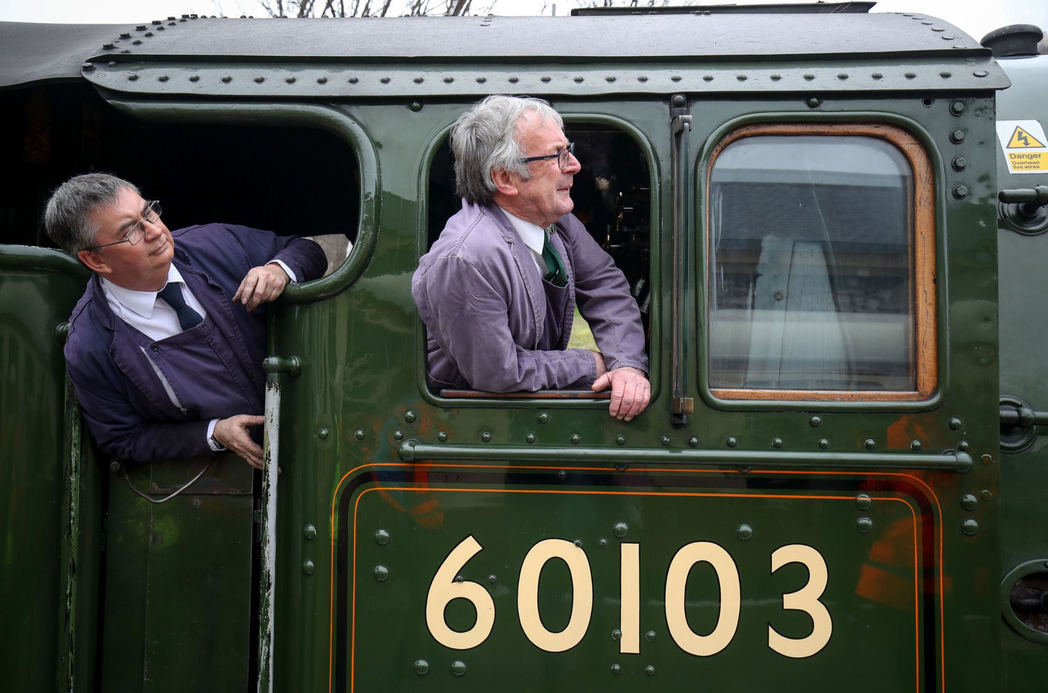 Driver and fireman look out from the Flying Scotsman