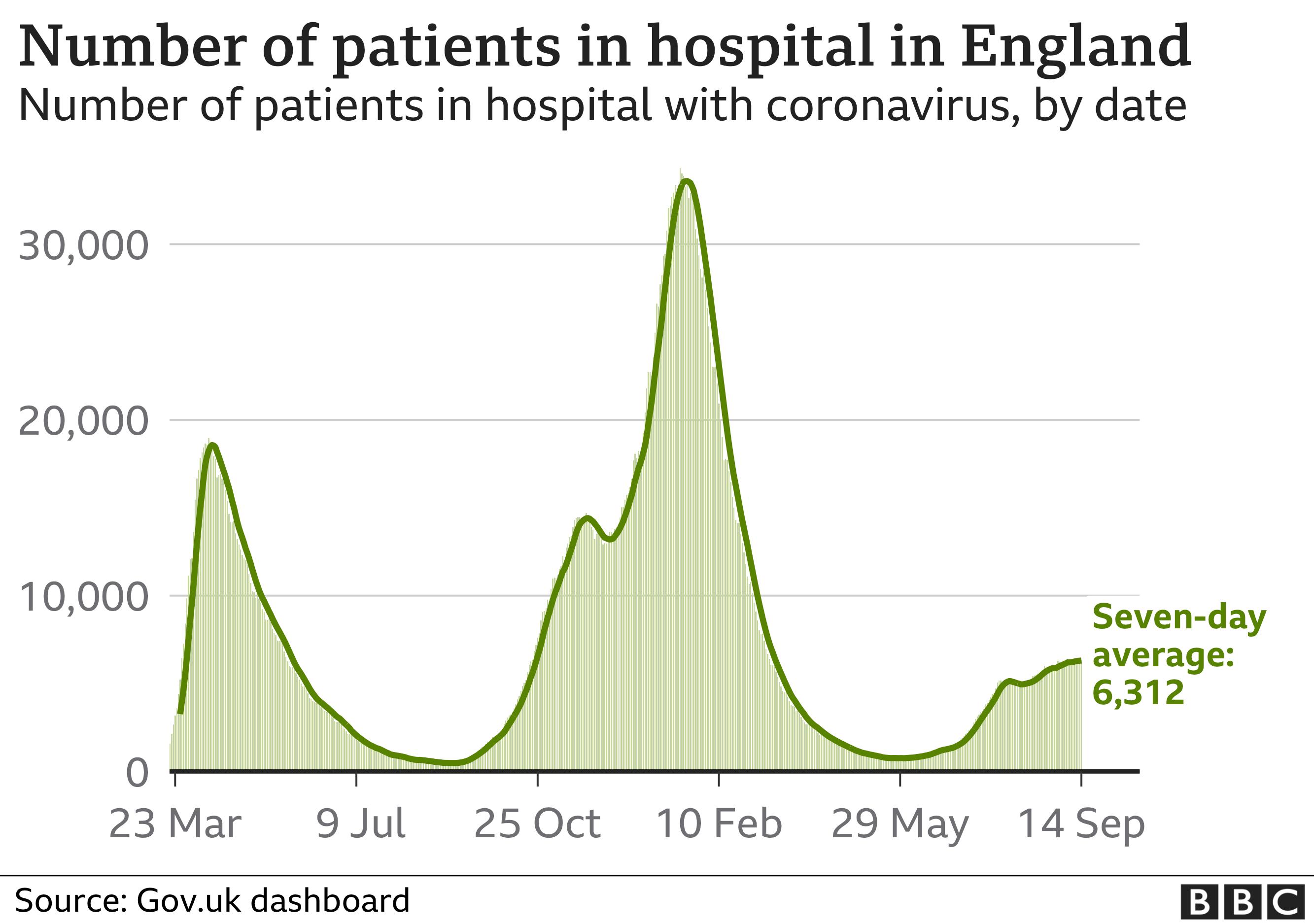 Gráfico que muestra los números en el hospital