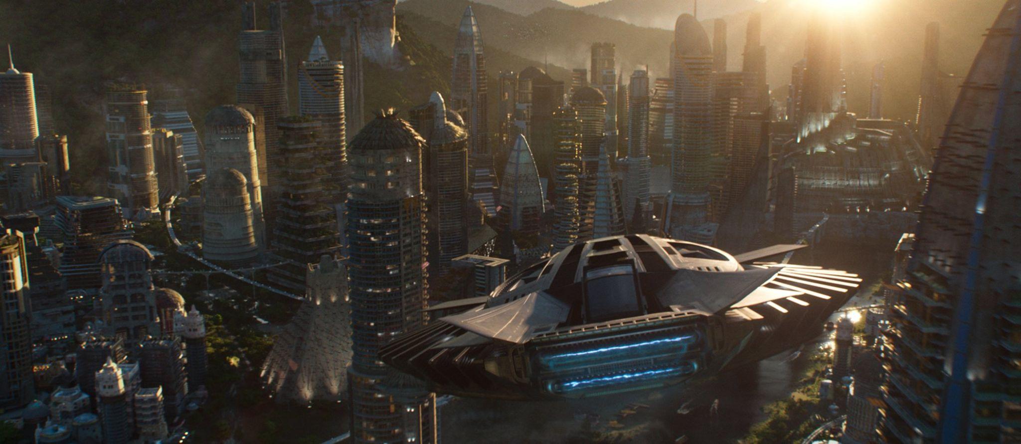A spaceship flying over Wakanda