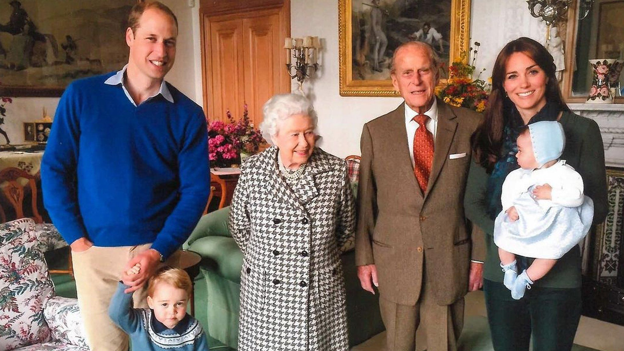 The Queen and Duke of Edinburgh seen with the Duke and Duchess of Cambridge, Prince George and Princess Charlotte at Windsor in 2015