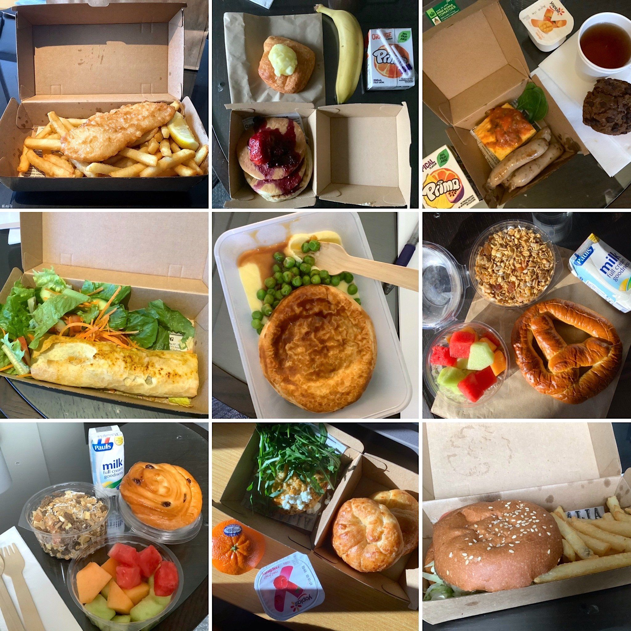 Photographs of food given to Sara Medici when she completed quarantine inside a hotel in Sydney in September 2020