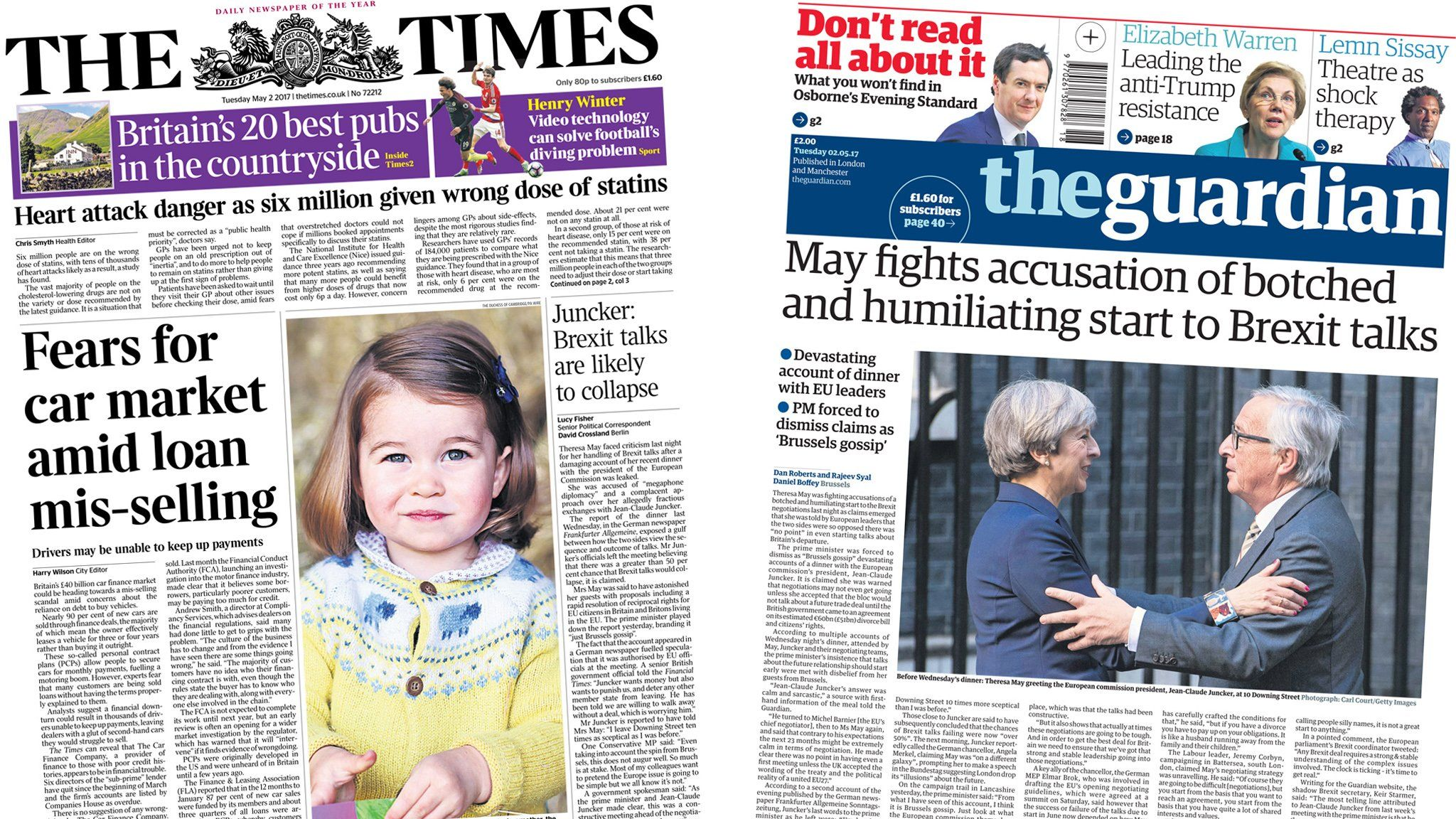 Times/Telegraph front pages