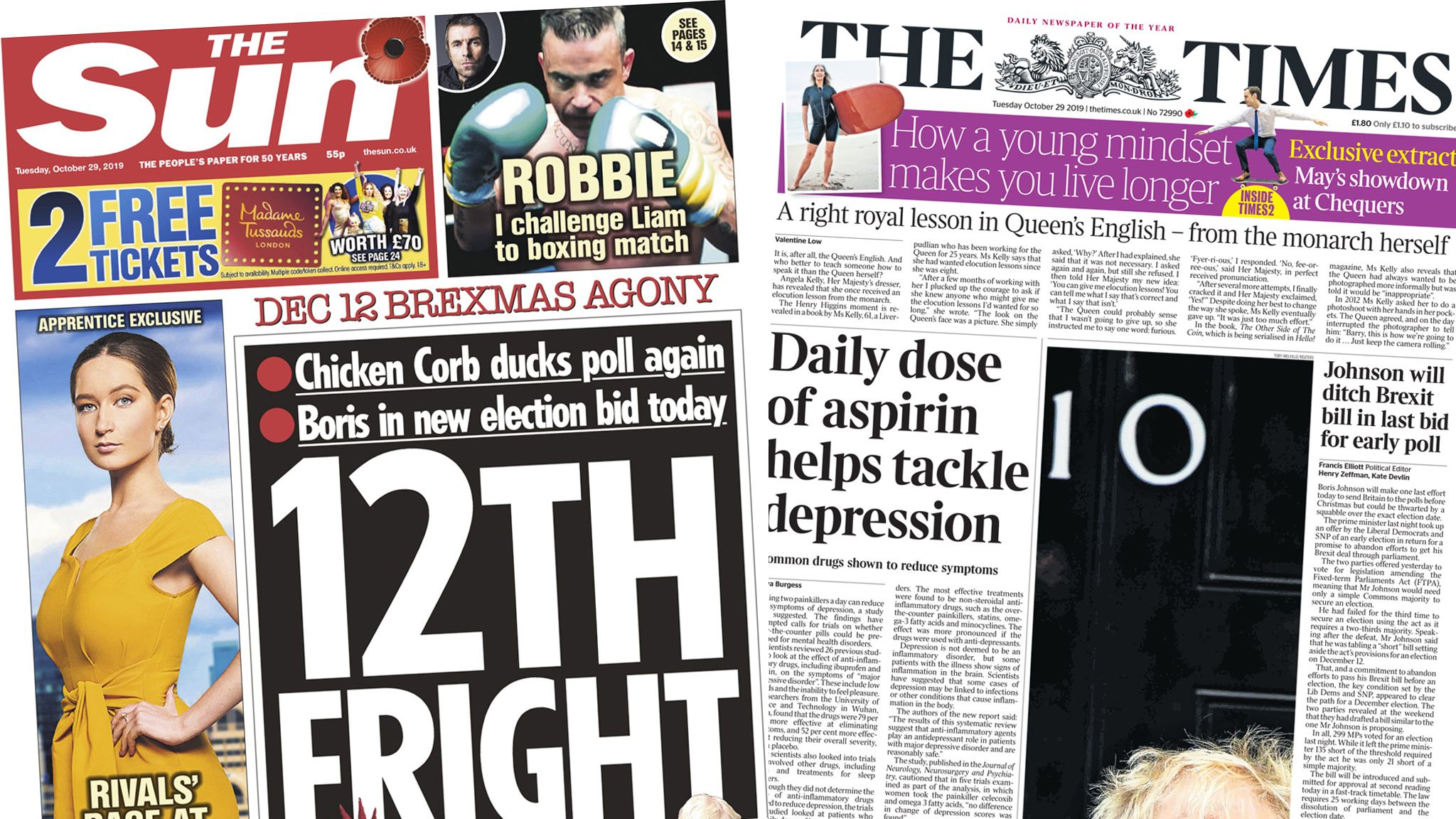 Front pages of the Sun and the Times