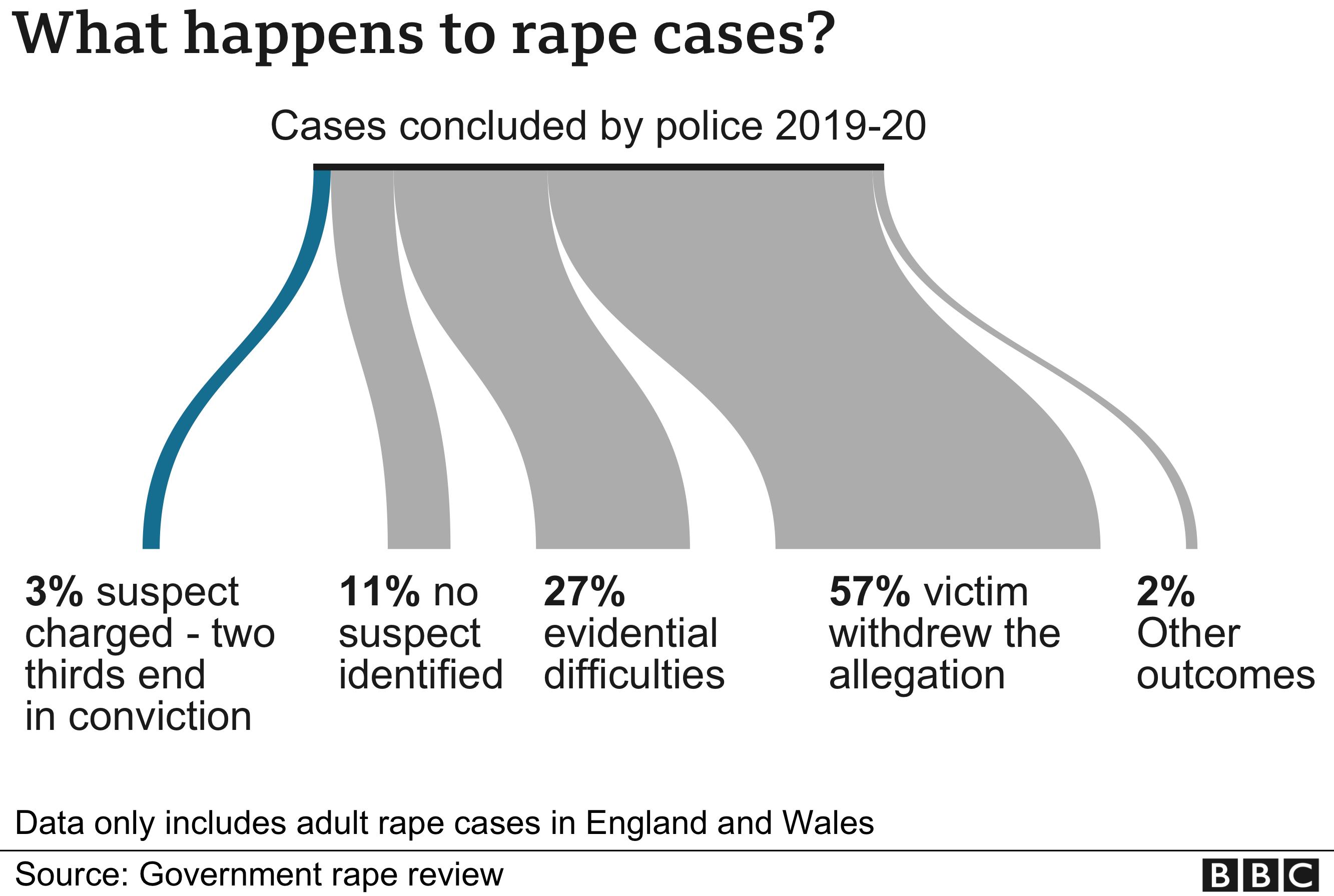 Graphic showing rape case outcomes