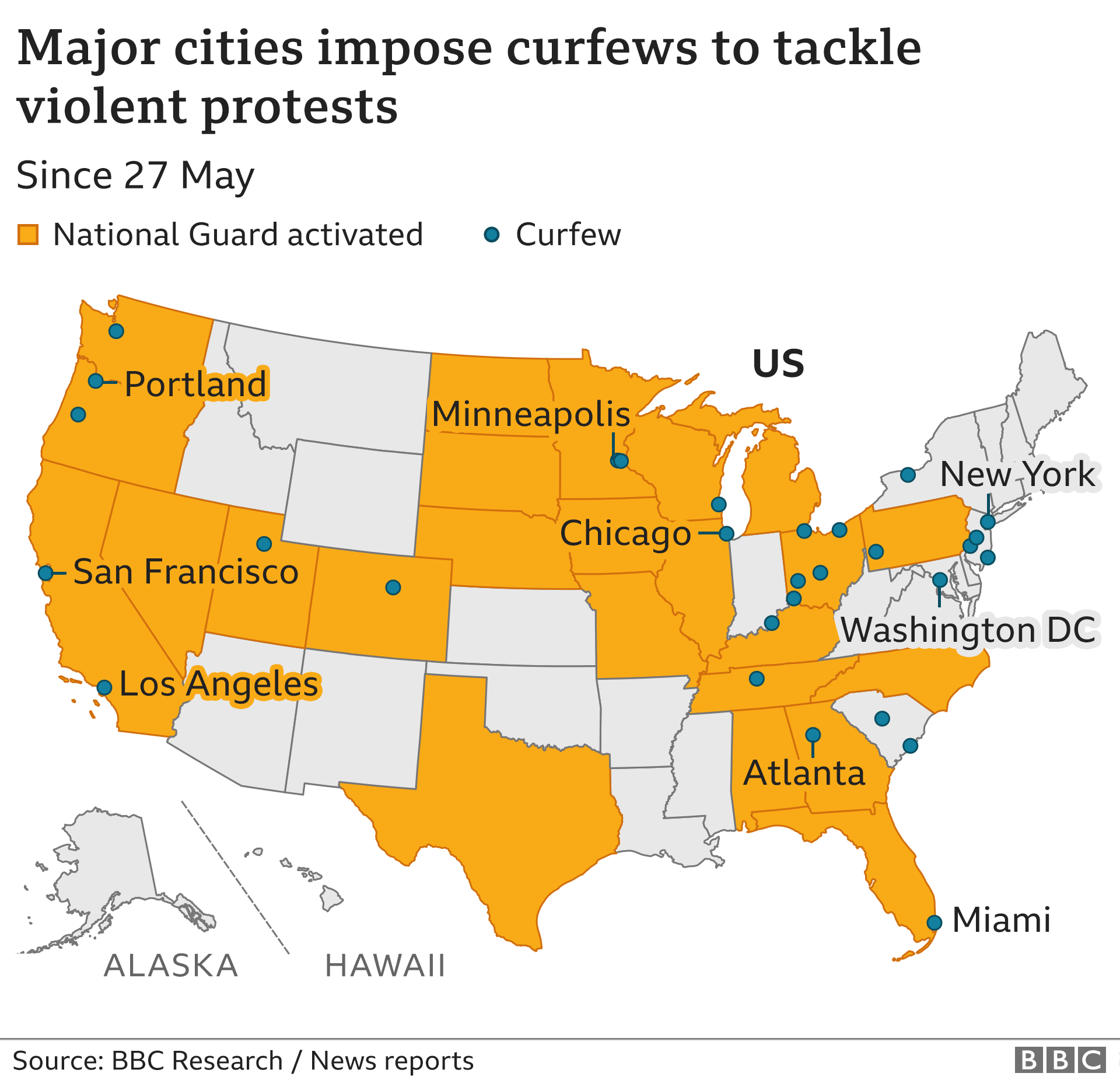 Map of major cities that have imposed curfews to tackle violent protests