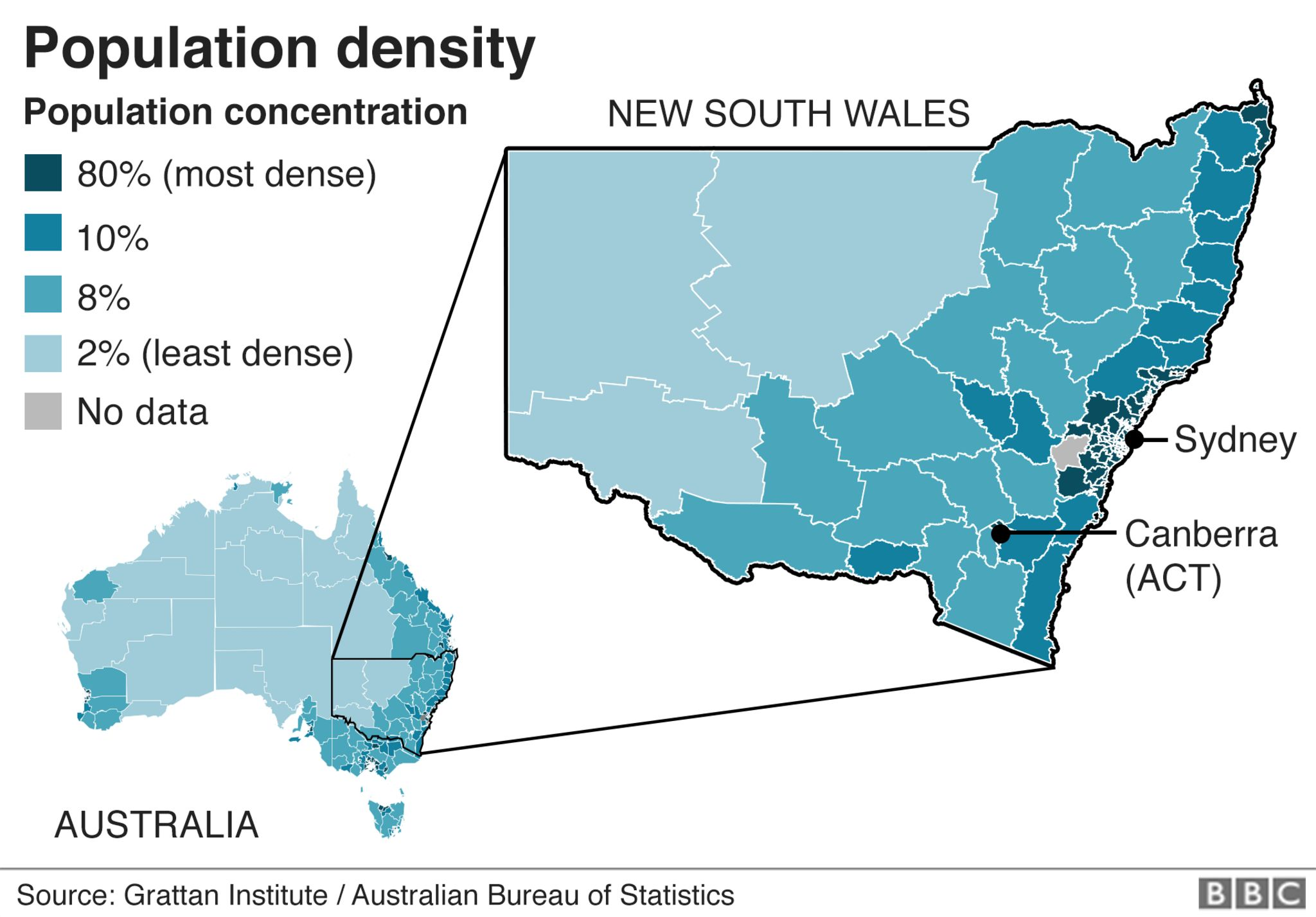A map showing population density in New South Wales