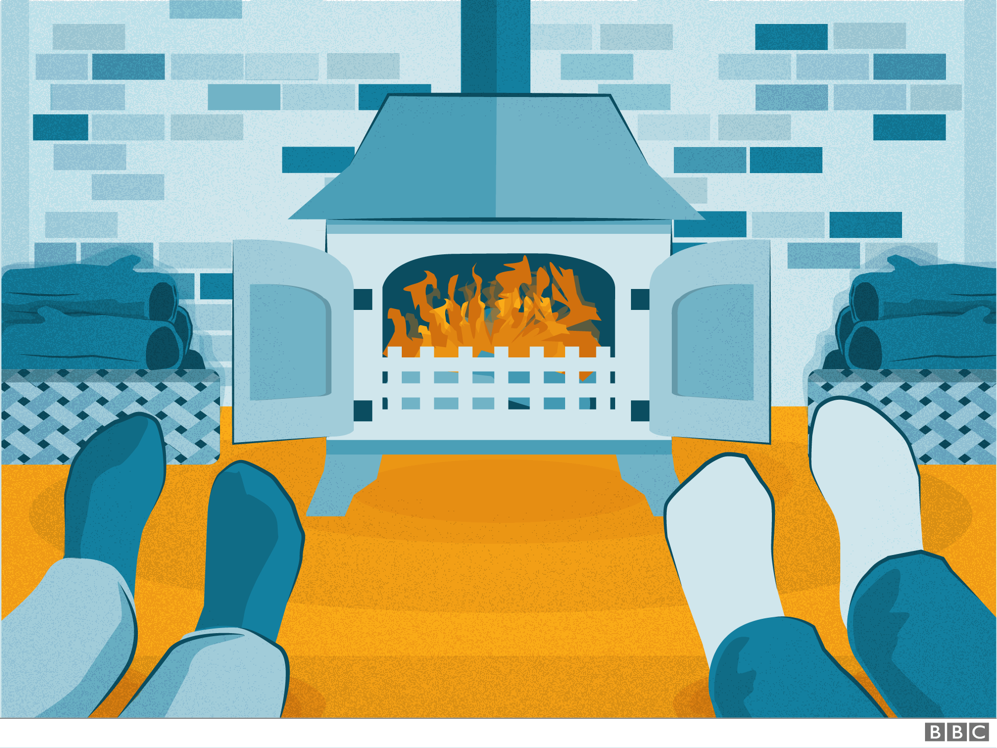 Couple's feet by the fire