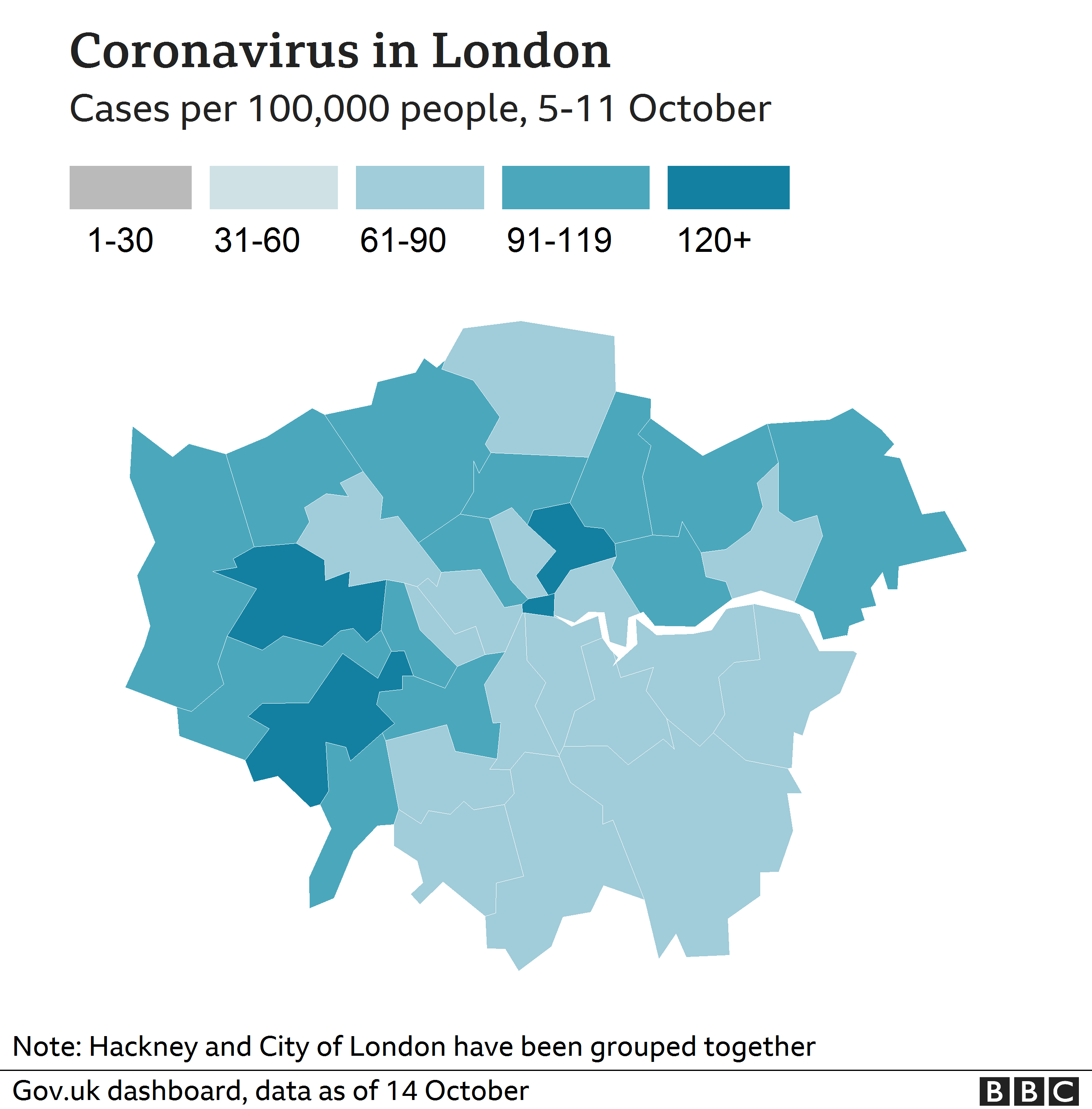 London coronavirus map