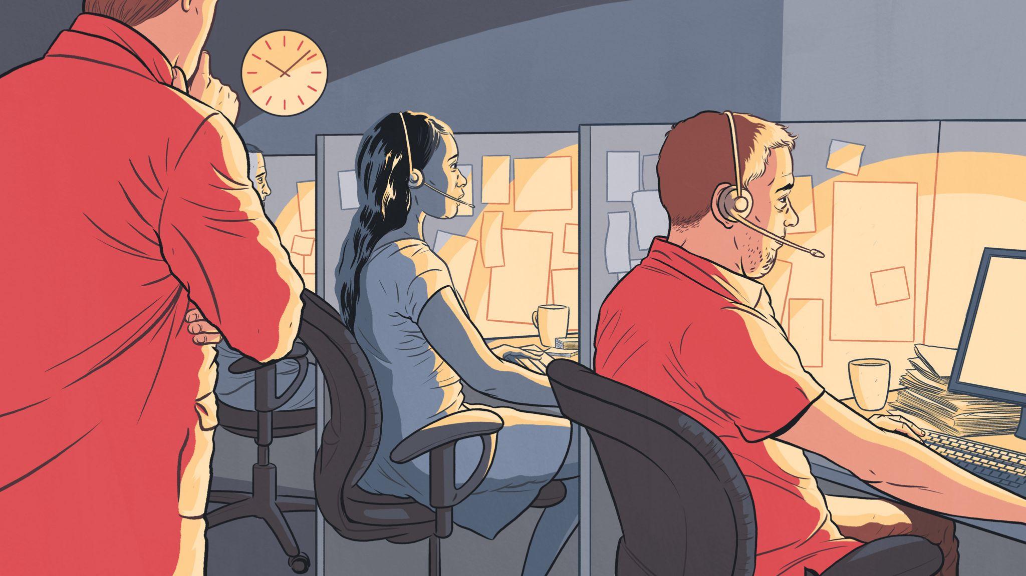 Asylum caseworkers at their desks