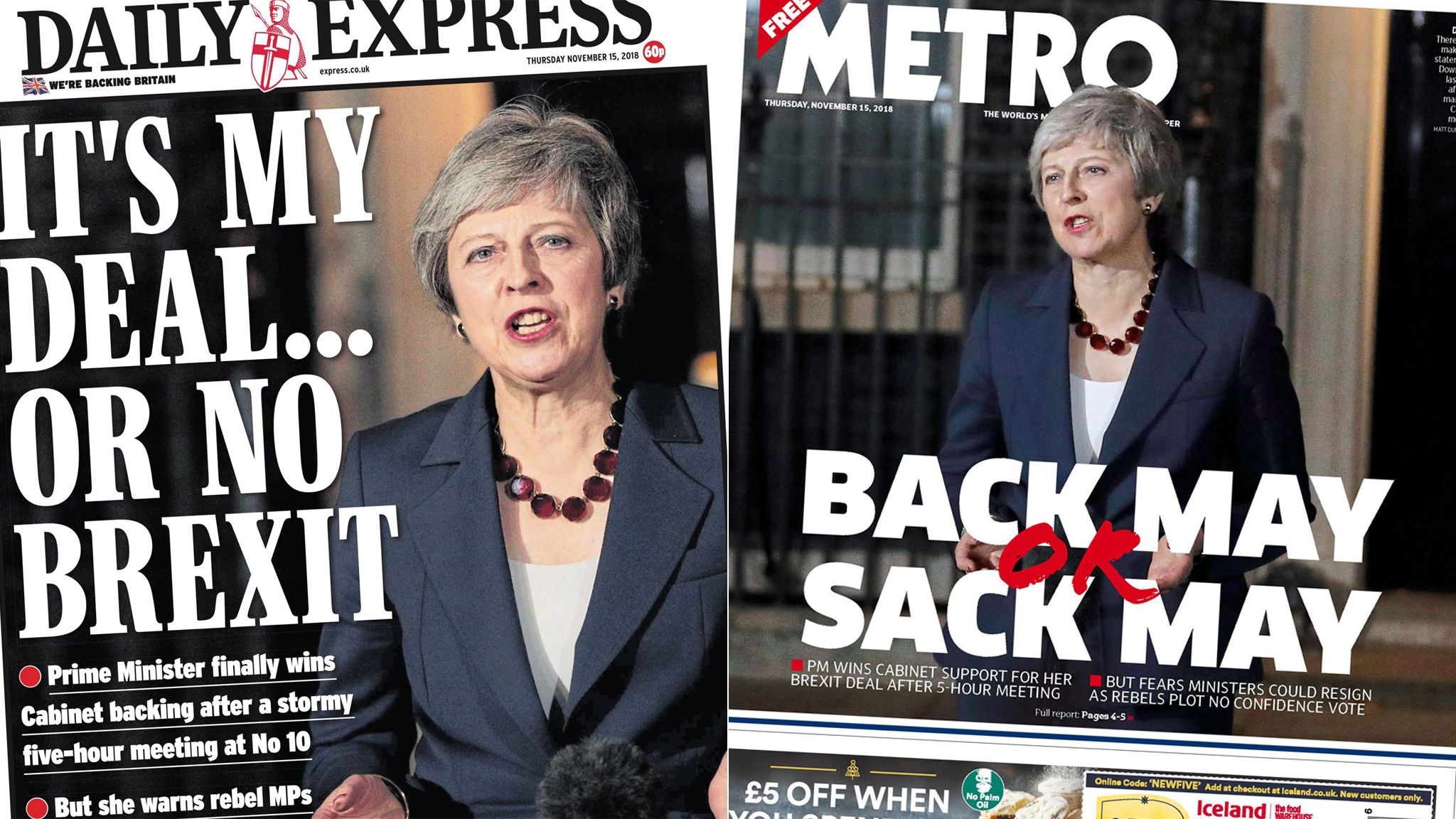 Composite image showing Daily Express and Metro front pages