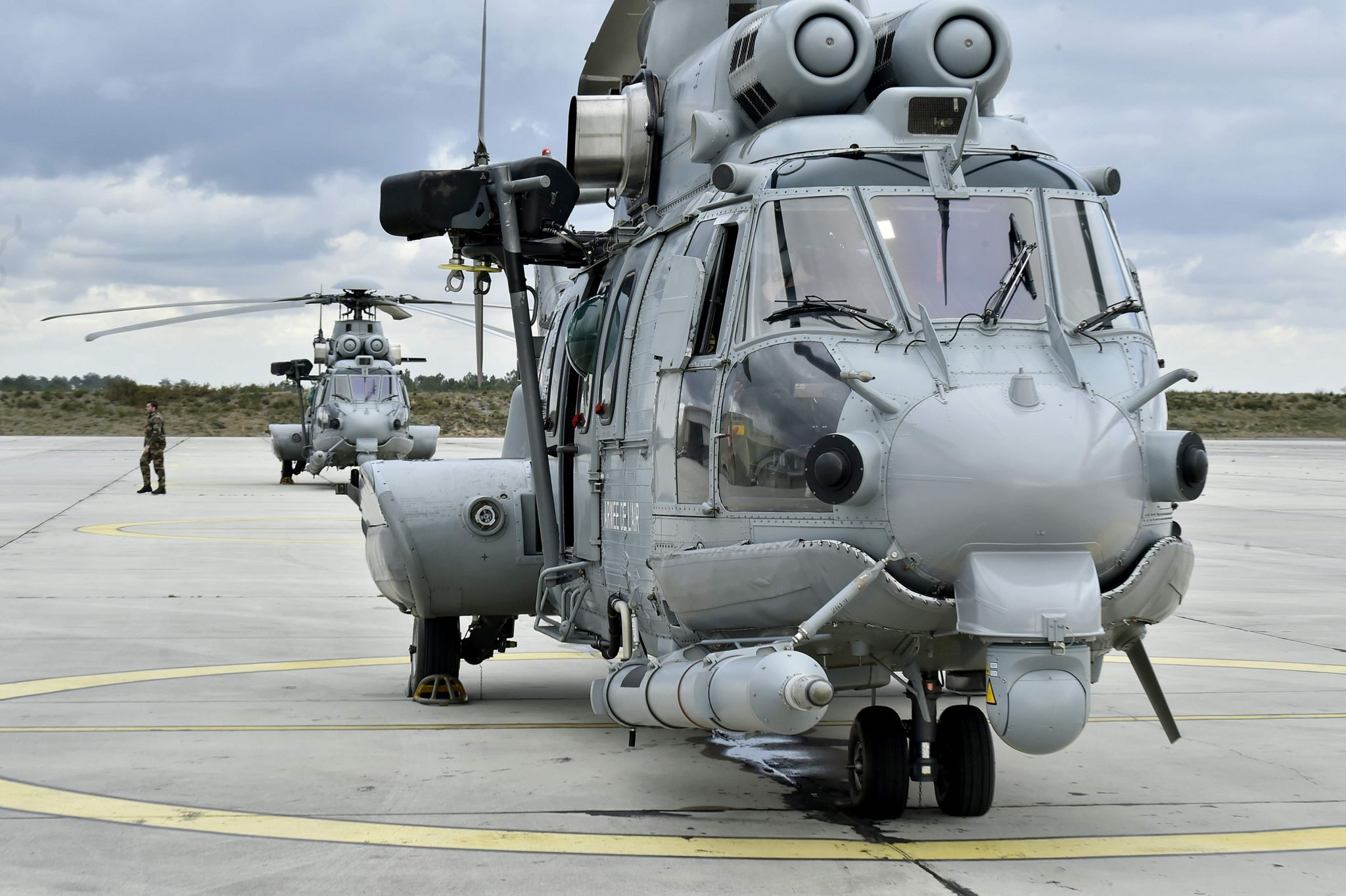 This picture taken on February 24, 2016, shows a French Caracal helicopter prior to an air-to-air refuelling exercise
