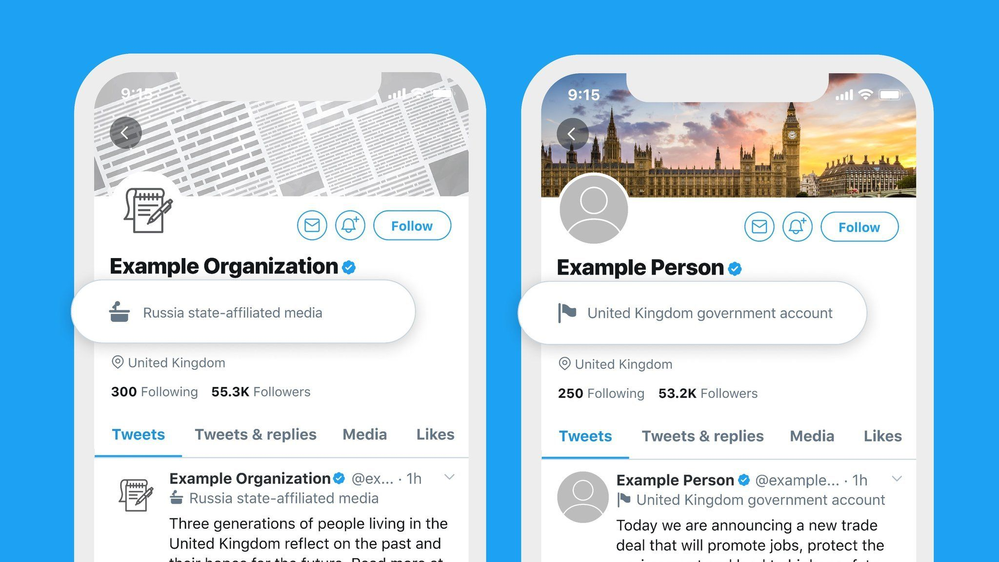 Twitter labels on an example government account
