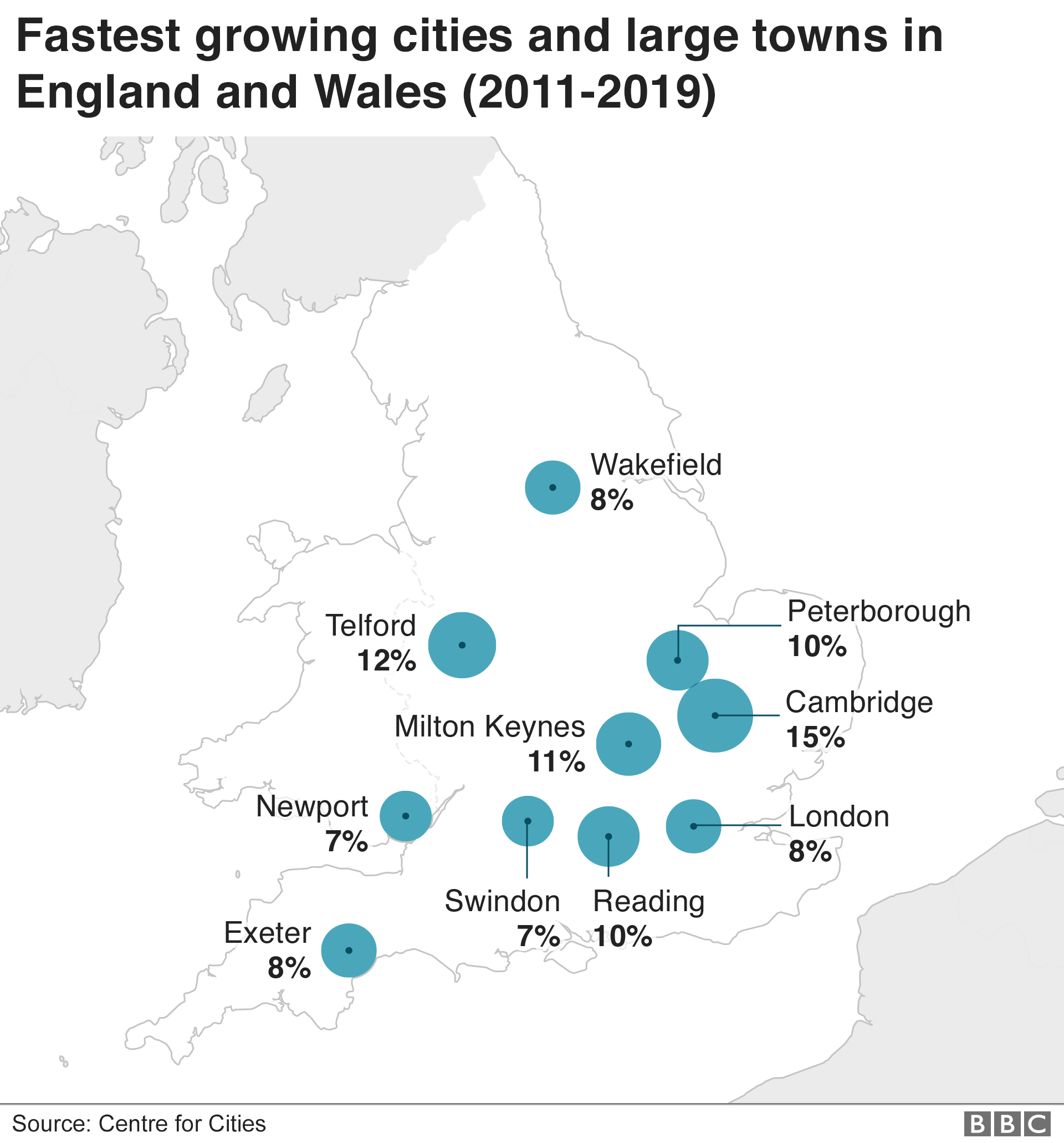 Map showing fastest growing cities and town in England and Wales
